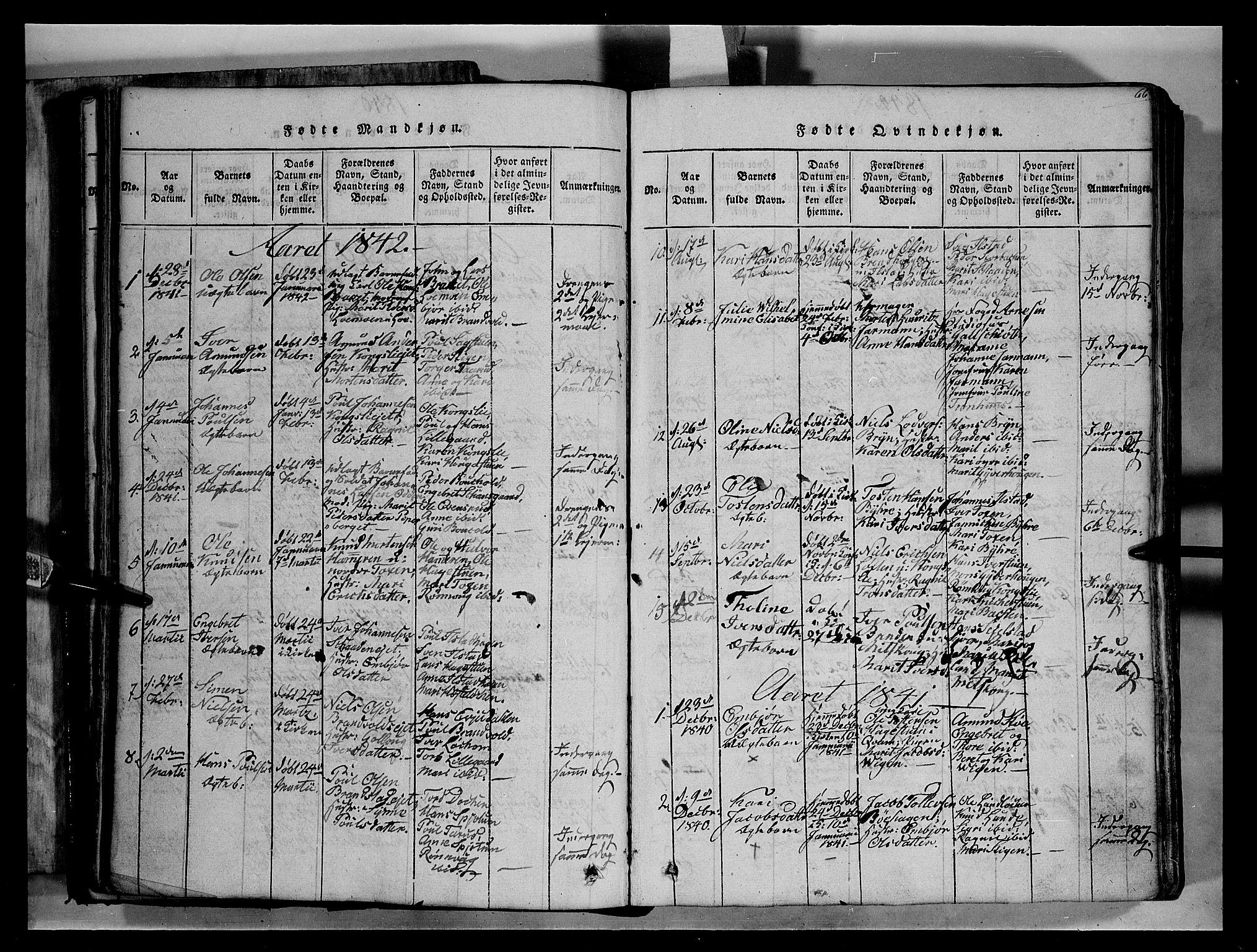 SAH, Fron prestekontor, H/Ha/Hab/L0004: Klokkerbok nr. 4, 1816-1850, s. 66