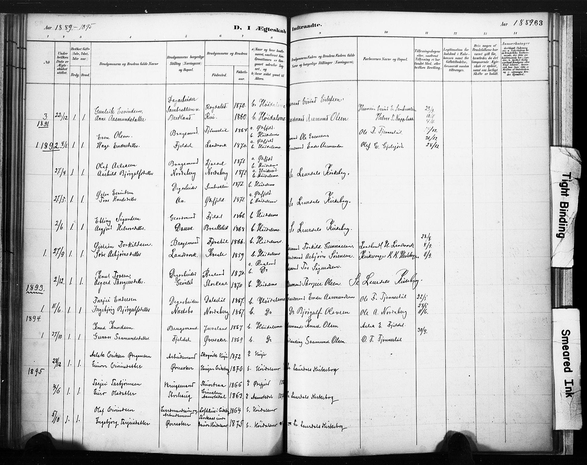 SAKO, Lårdal kirkebøker, F/Fc/L0002: Ministerialbok nr. III 2, 1887-1906, s. 63