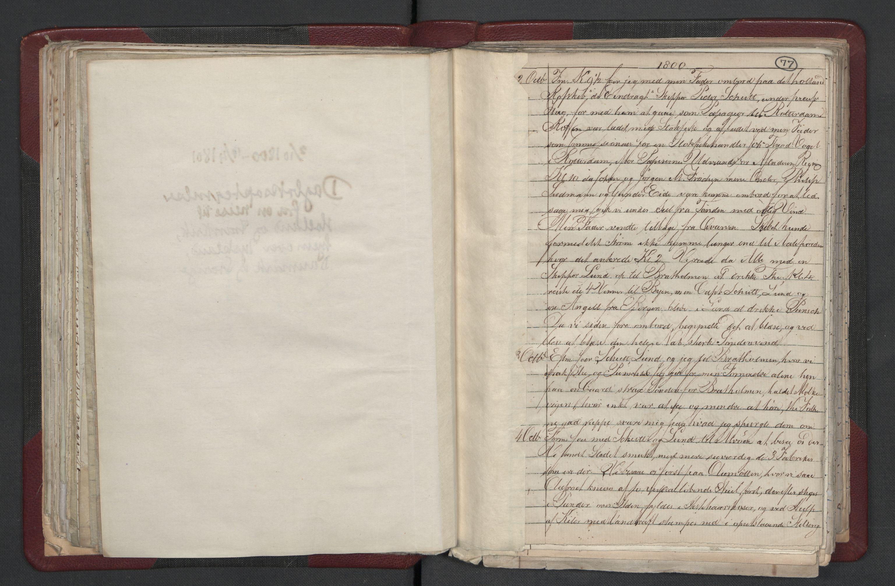 RA, Meltzer, Fredrik, F/L0001: Dagbok for årene 1796-1808, 1811, 1817, 1796-1817, s. 77a