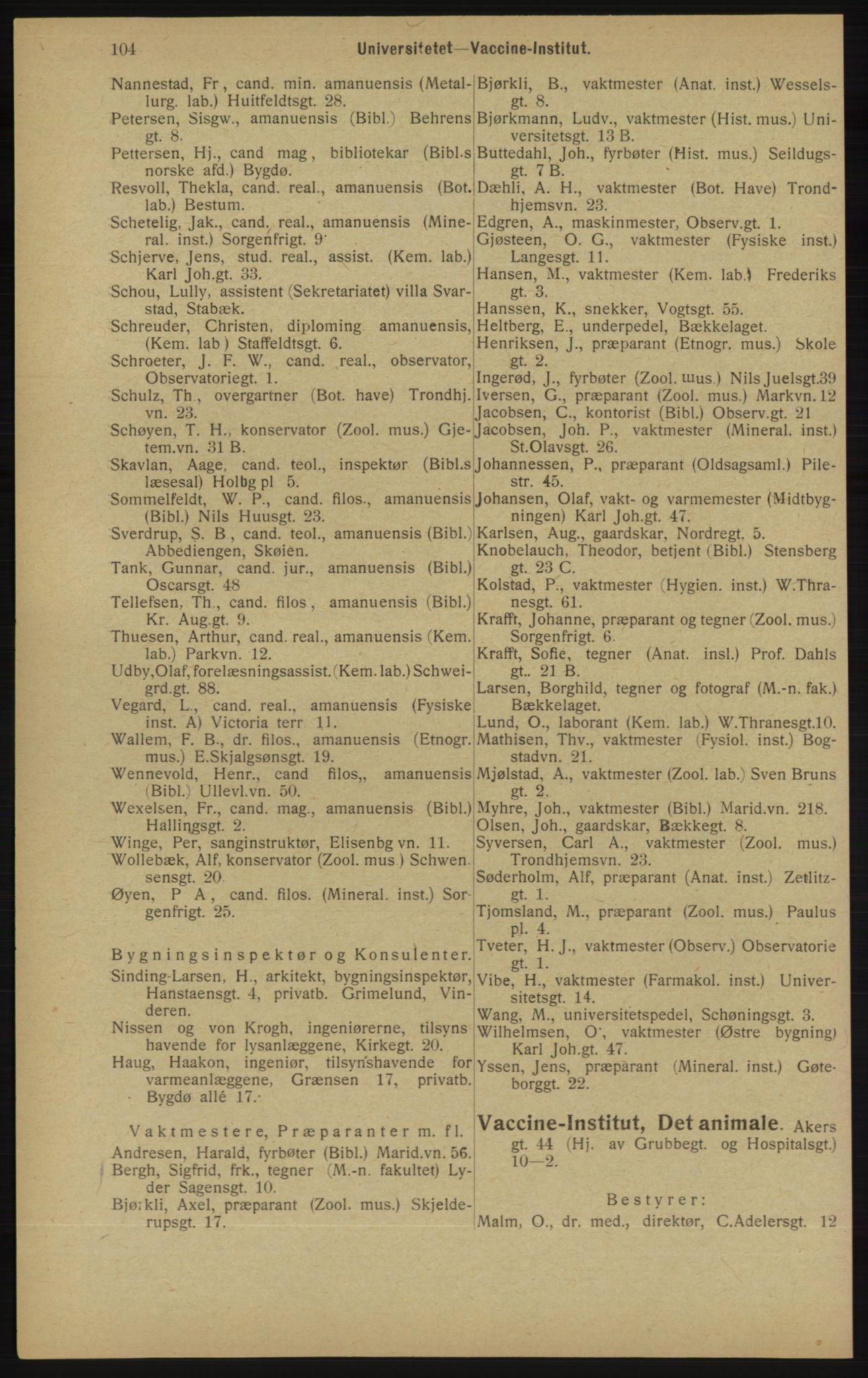 RA, Kristiania adressebok (publikasjon)*, 1913, s. 104