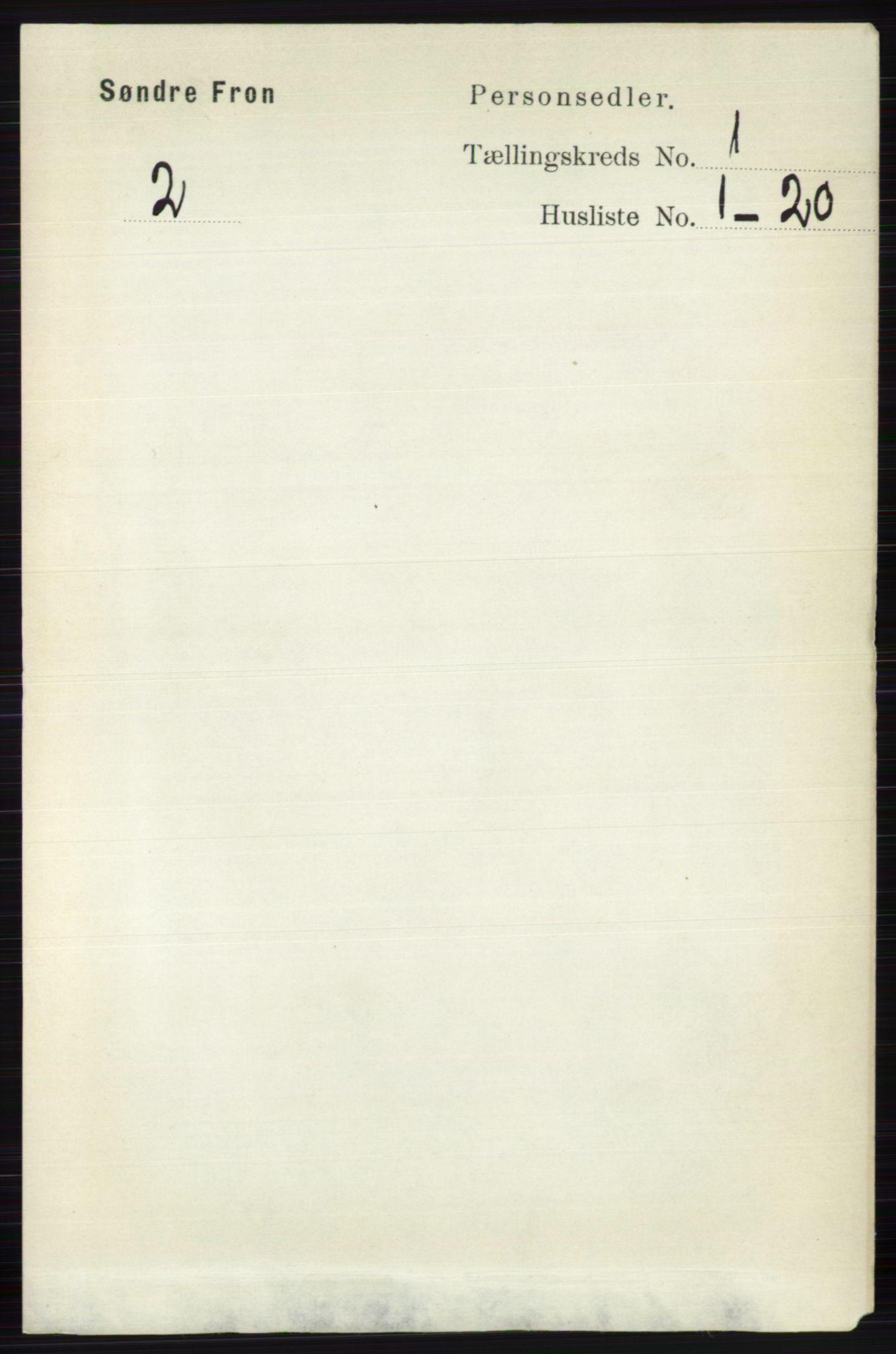 RA, Folketelling 1891 for 0519 Sør-Fron herred, 1891, s. 95