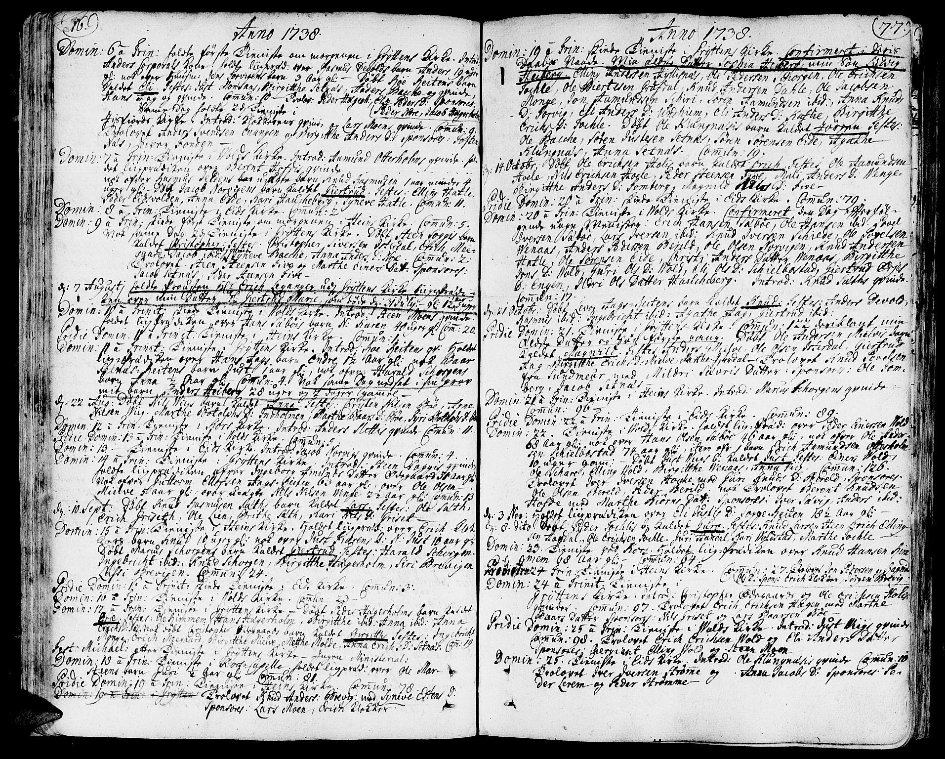SAT, Ministerialprotokoller, klokkerbøker og fødselsregistre - Møre og Romsdal, 544/L0568: Ministerialbok nr. 544A01, 1725-1763, s. 76-77