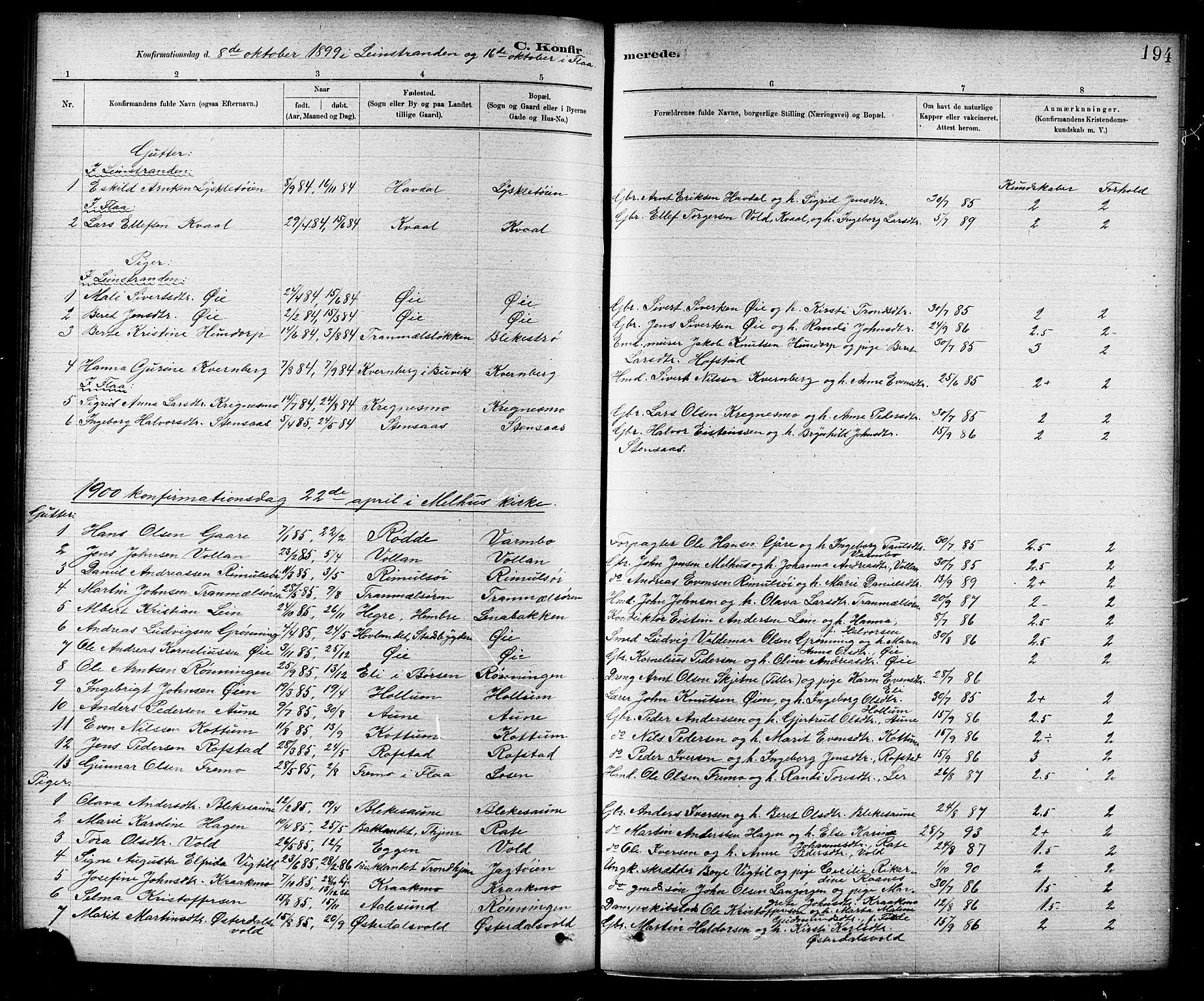 SAT, Ministerialprotokoller, klokkerbøker og fødselsregistre - Sør-Trøndelag, 691/L1094: Klokkerbok nr. 691C05, 1879-1911, s. 194