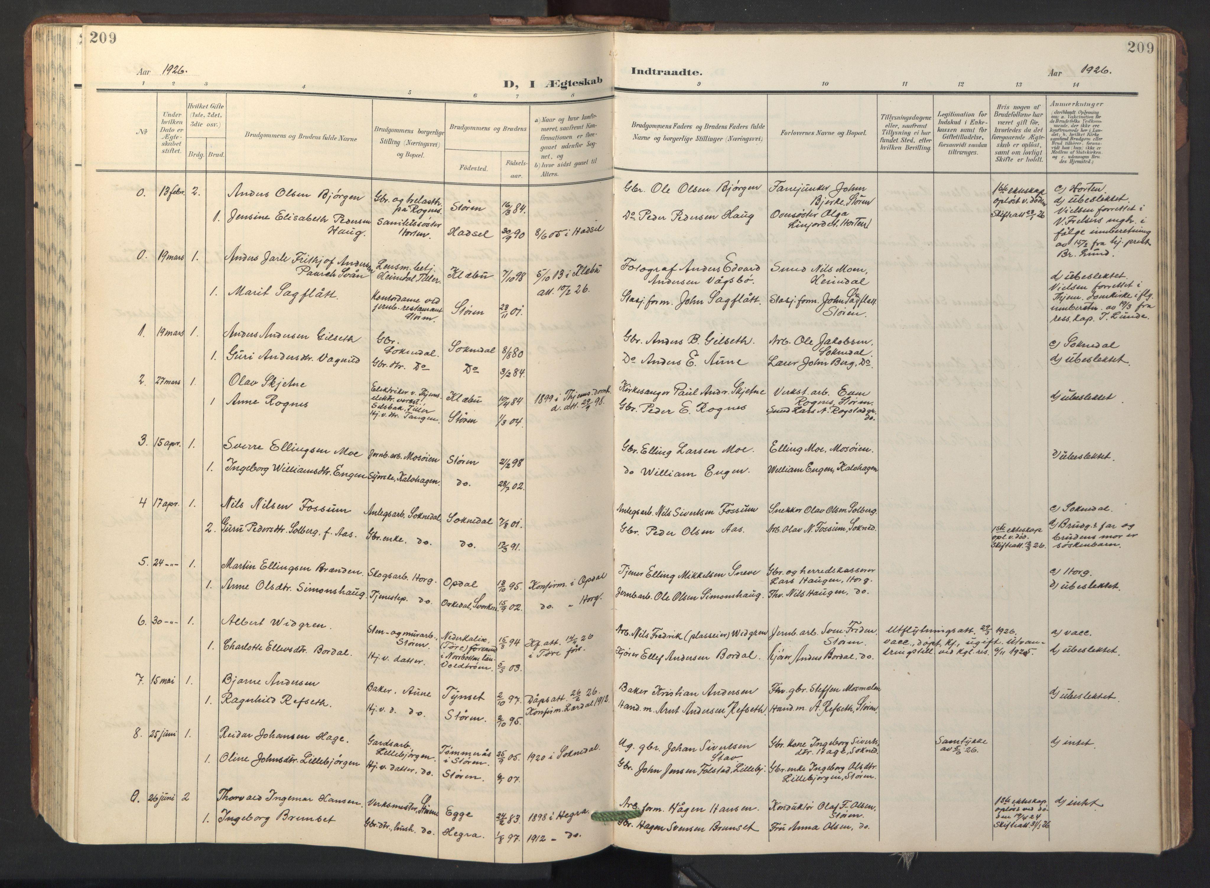 SAT, Ministerialprotokoller, klokkerbøker og fødselsregistre - Sør-Trøndelag, 687/L1019: Klokkerbok nr. 687C03, 1904-1931, s. 209