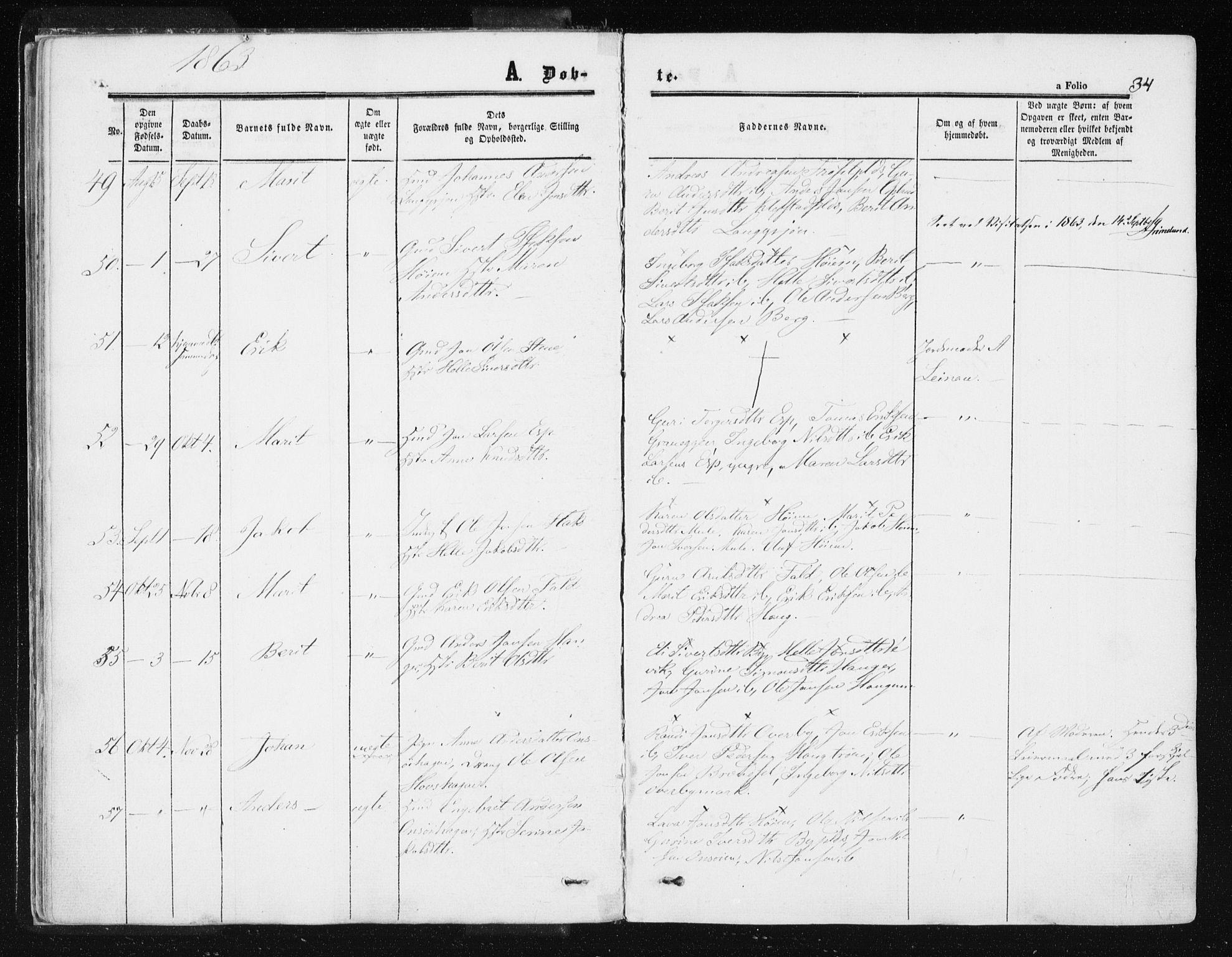 SAT, Ministerialprotokoller, klokkerbøker og fødselsregistre - Sør-Trøndelag, 612/L0377: Ministerialbok nr. 612A09, 1859-1877, s. 34