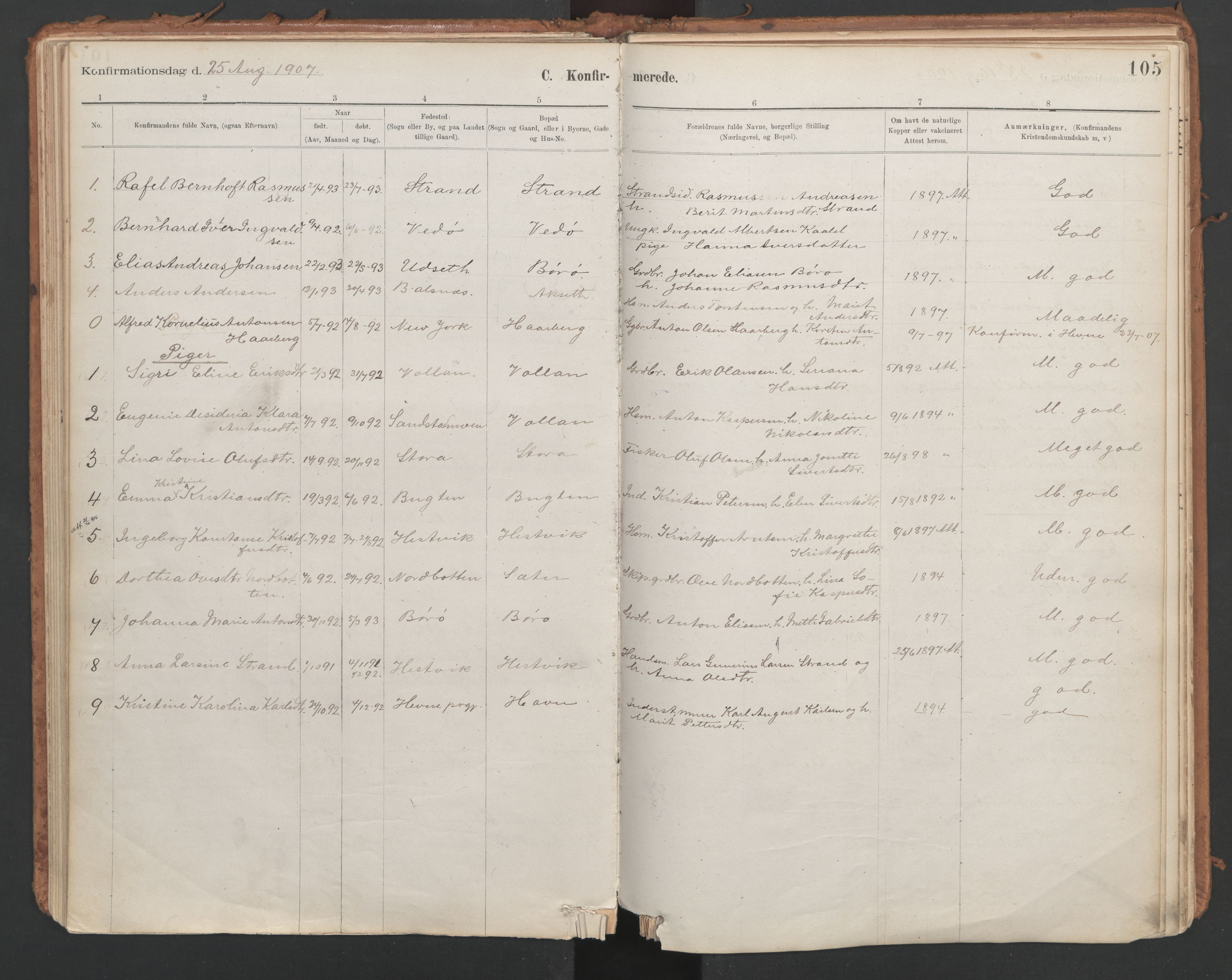 SAT, Ministerialprotokoller, klokkerbøker og fødselsregistre - Sør-Trøndelag, 639/L0572: Ministerialbok nr. 639A01, 1890-1920, s. 105