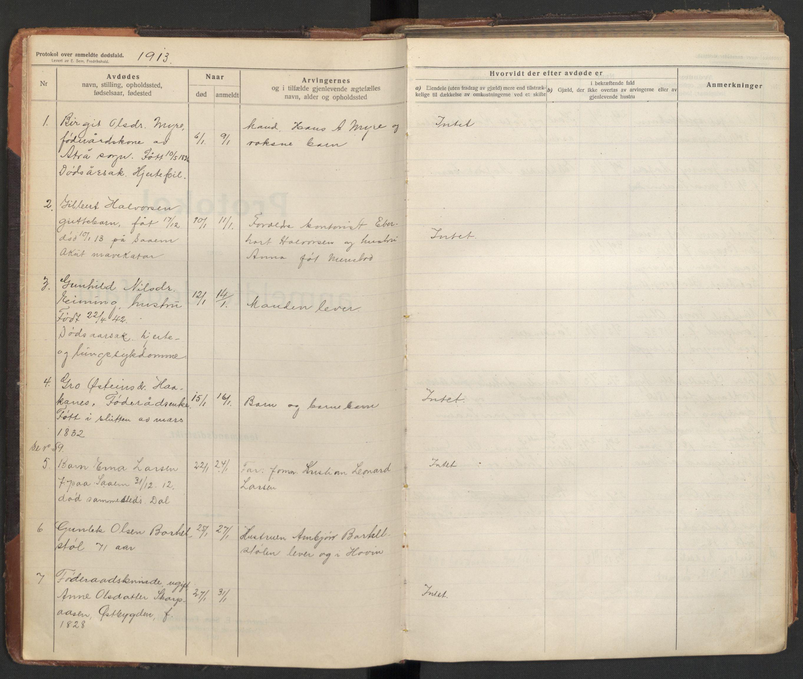 SAKO, Tinn lensmannskontor, H/Ha/L0002: Dødsfallsprotokoll, 1913-1923