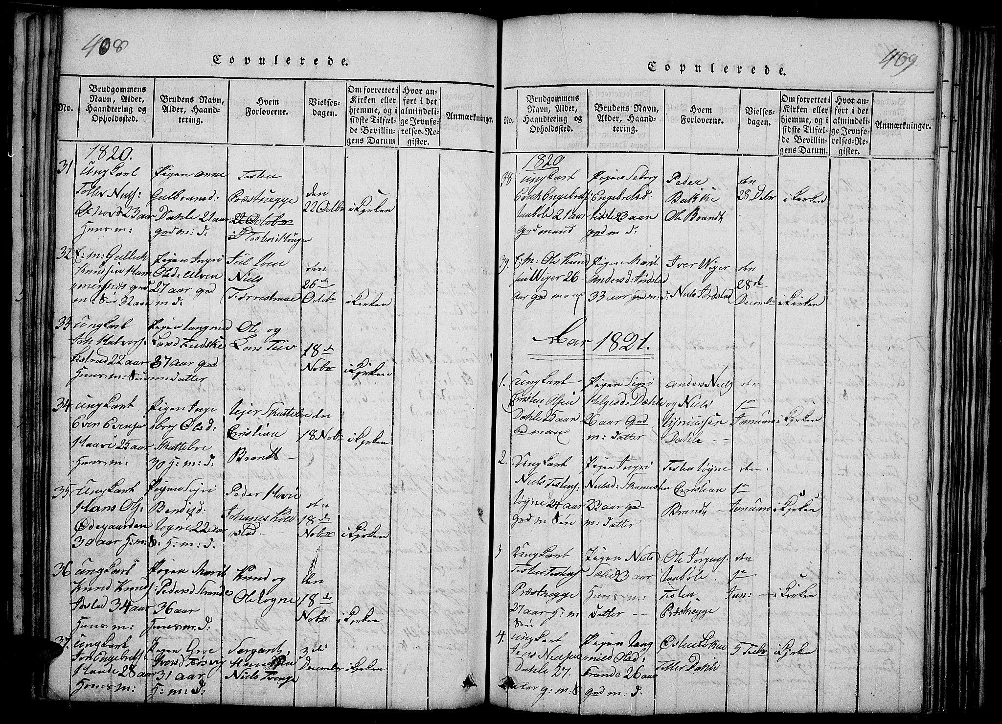 SAH, Slidre prestekontor, Ministerialbok nr. 2, 1814-1830, s. 408-409