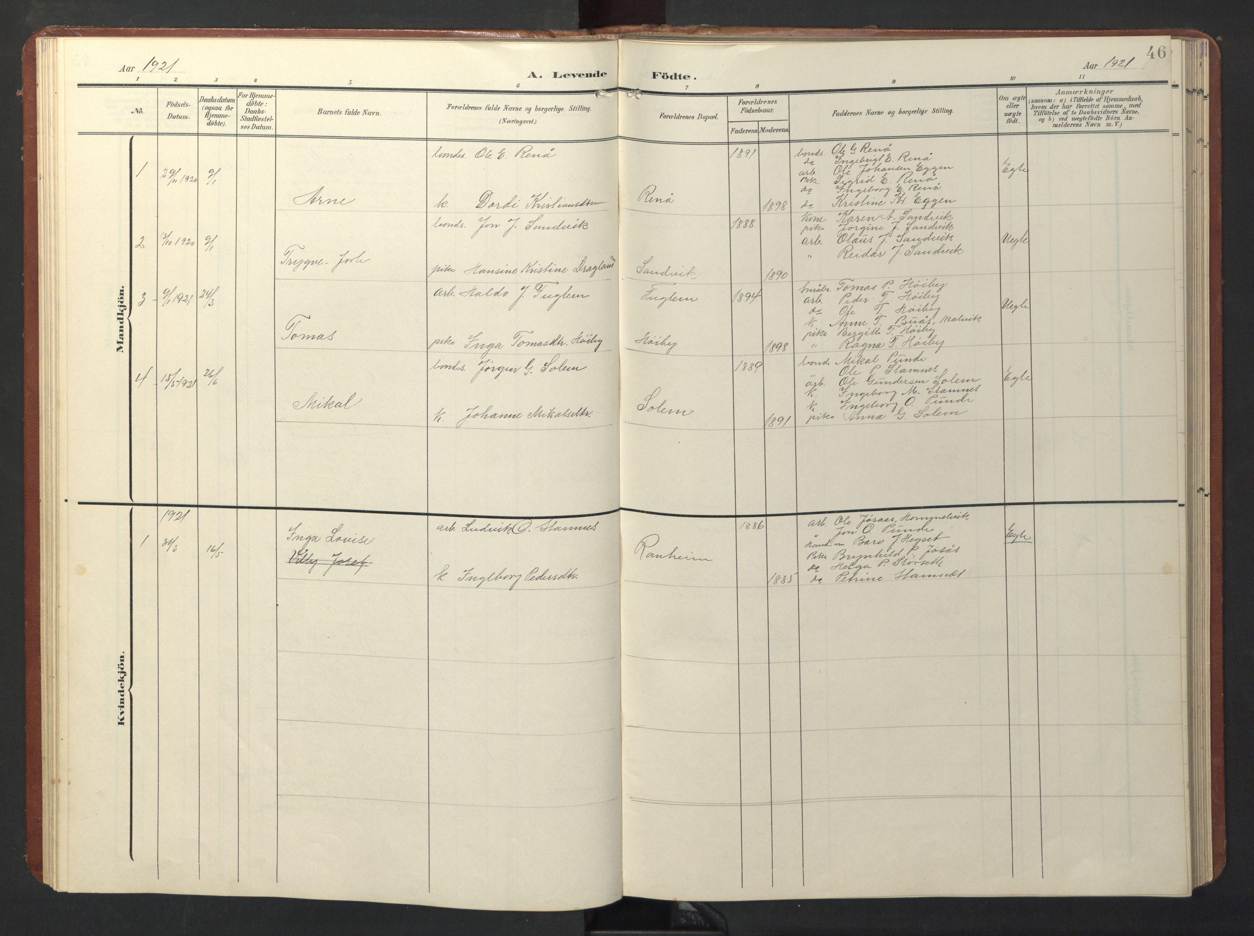 SAT, Ministerialprotokoller, klokkerbøker og fødselsregistre - Sør-Trøndelag, 696/L1161: Klokkerbok nr. 696C01, 1902-1950, s. 46