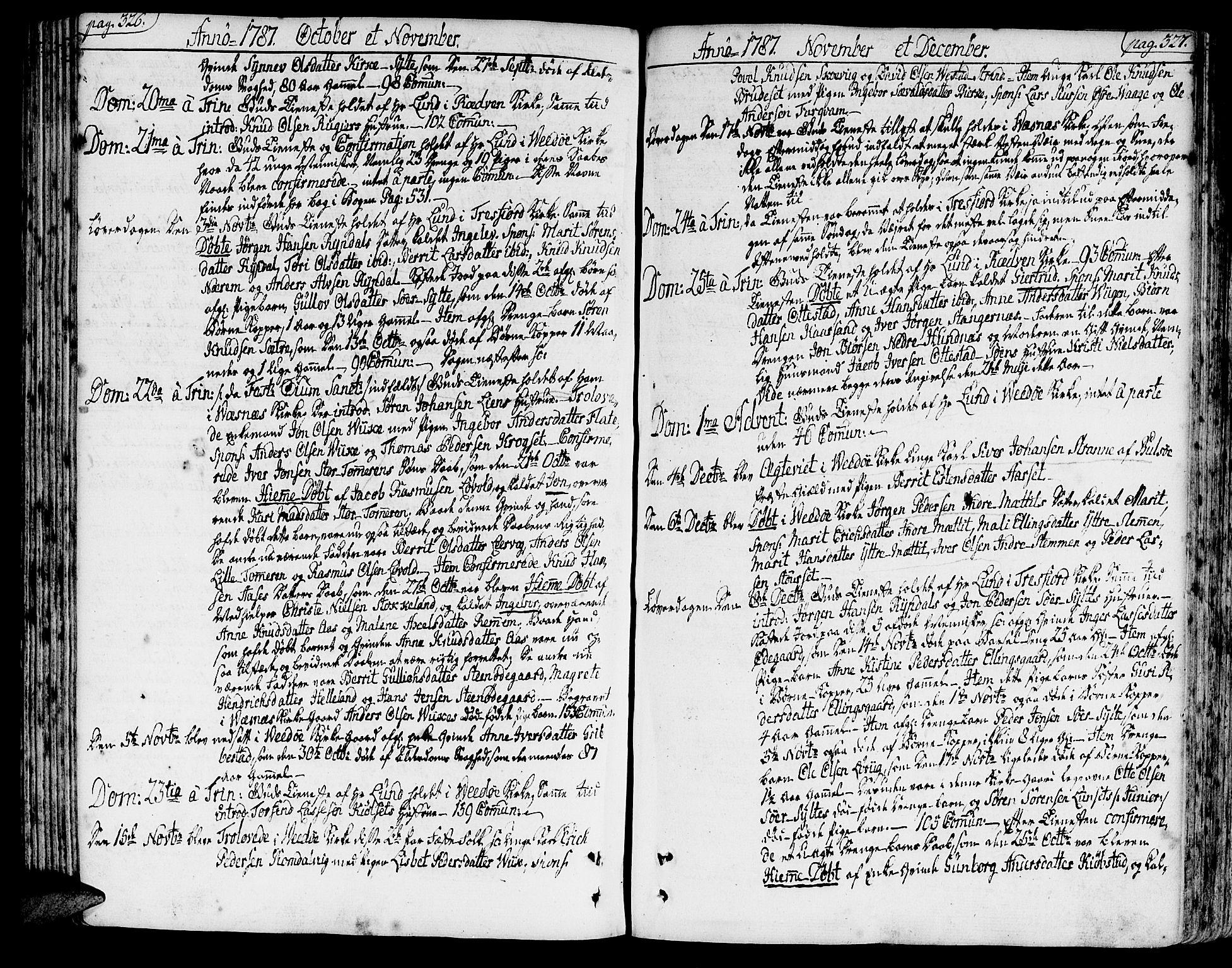 SAT, Ministerialprotokoller, klokkerbøker og fødselsregistre - Møre og Romsdal, 547/L0600: Ministerialbok nr. 547A02, 1765-1799, s. 326-327