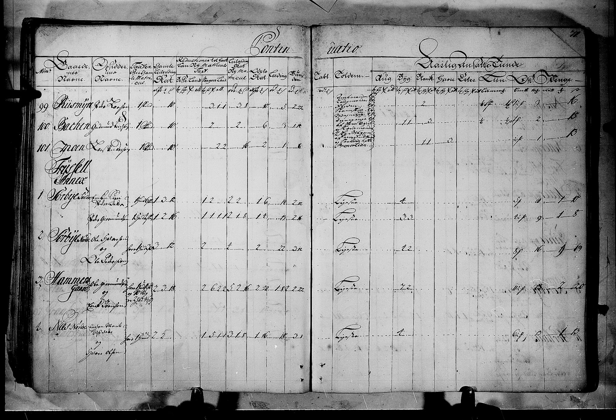 RA, Rentekammeret inntil 1814, Realistisk ordnet avdeling, N/Nb/Nbf/L0102: Solør, Østerdalen og Odal matrikkelprotokoll, 1723, s. 70b-71a