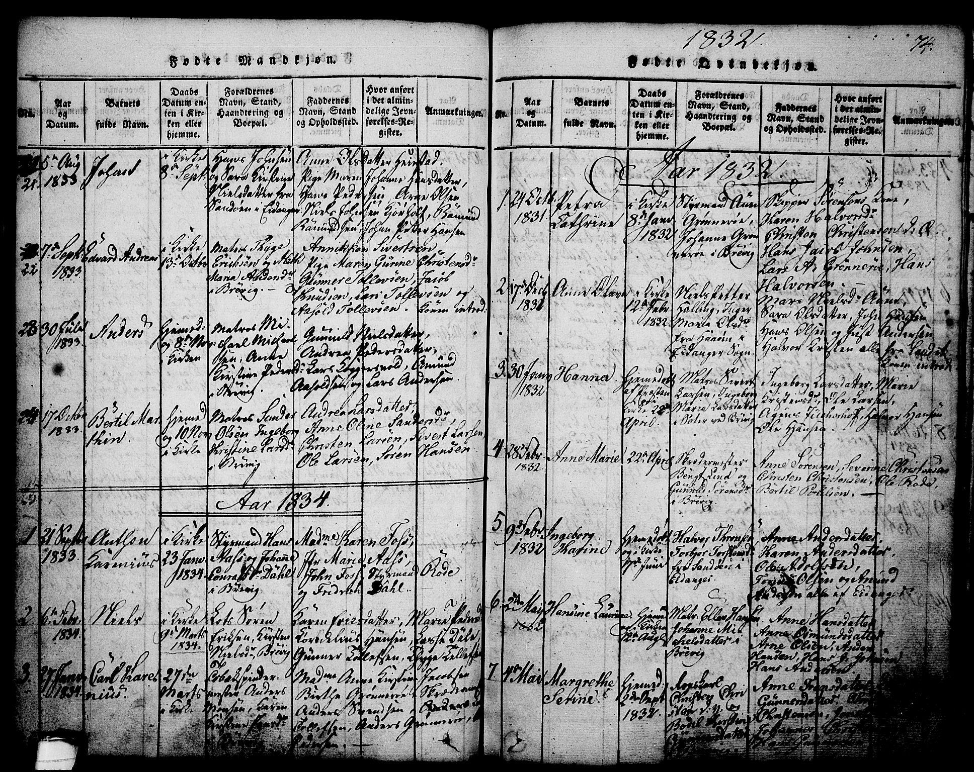 SAKO, Brevik kirkebøker, G/Ga/L0001: Klokkerbok nr. 1, 1814-1845, s. 74