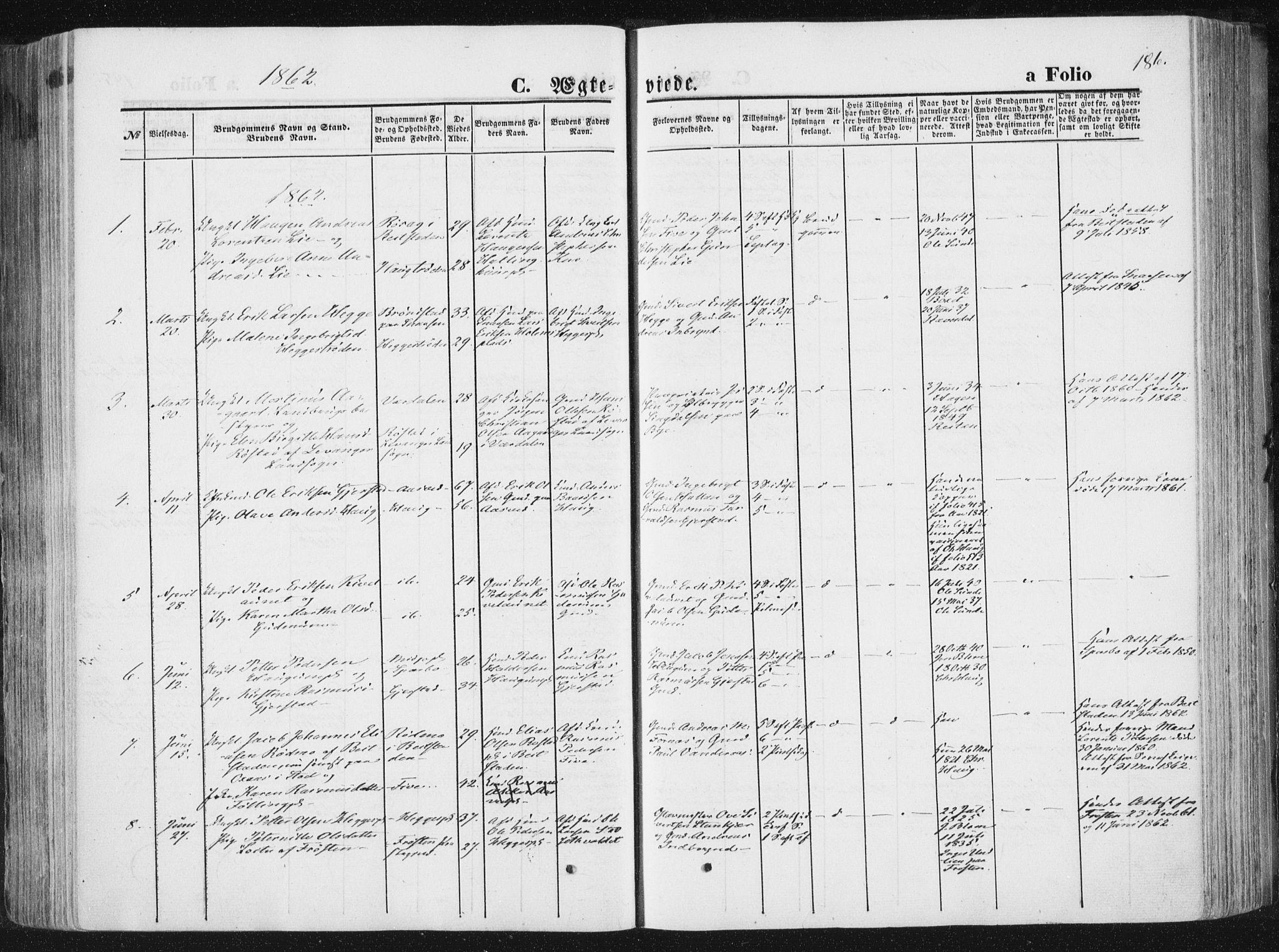SAT, Ministerialprotokoller, klokkerbøker og fødselsregistre - Nord-Trøndelag, 746/L0447: Ministerialbok nr. 746A06, 1860-1877, s. 186