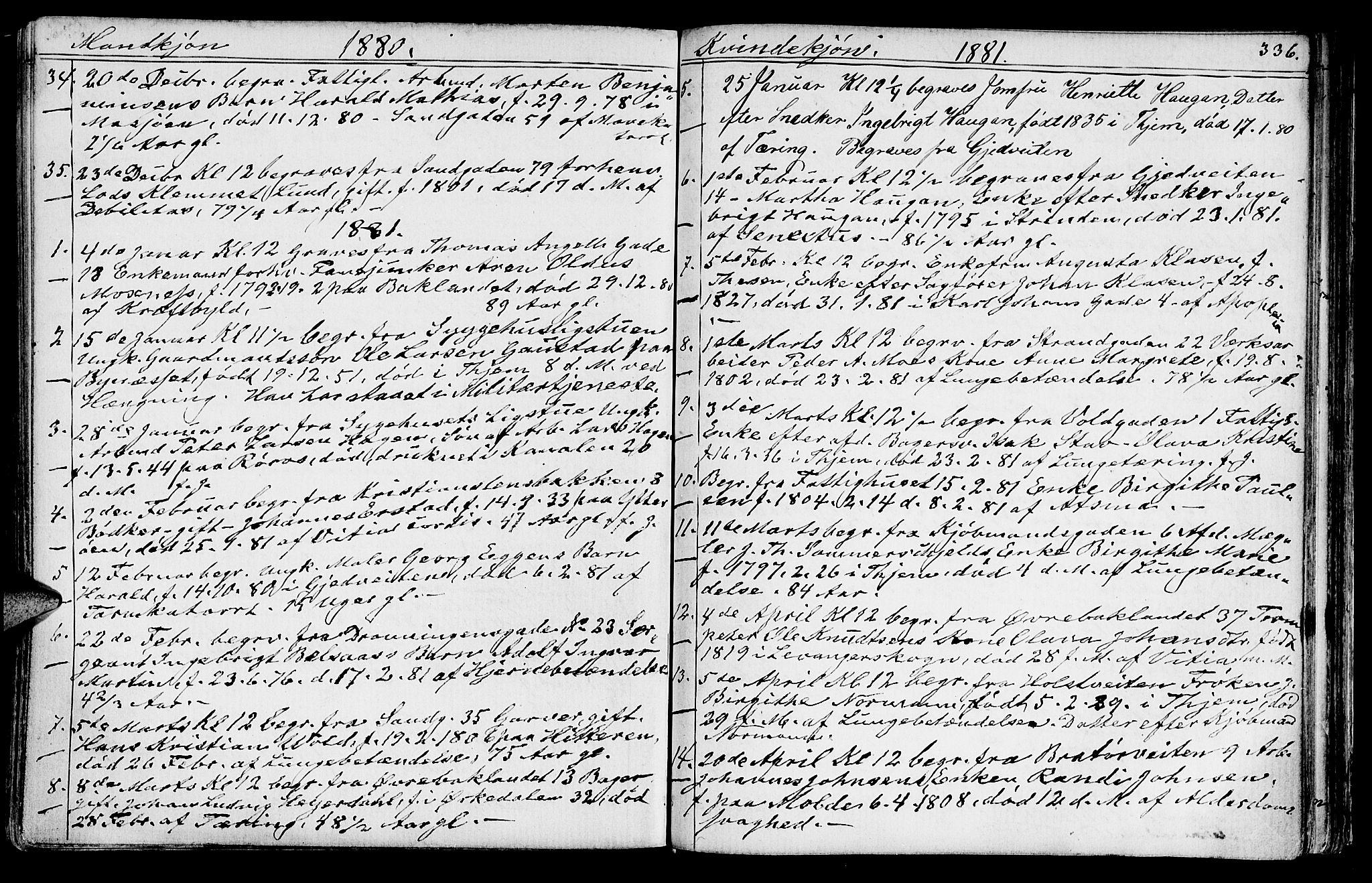 SAT, Ministerialprotokoller, klokkerbøker og fødselsregistre - Sør-Trøndelag, 602/L0142: Klokkerbok nr. 602C10, 1872-1894, s. 336