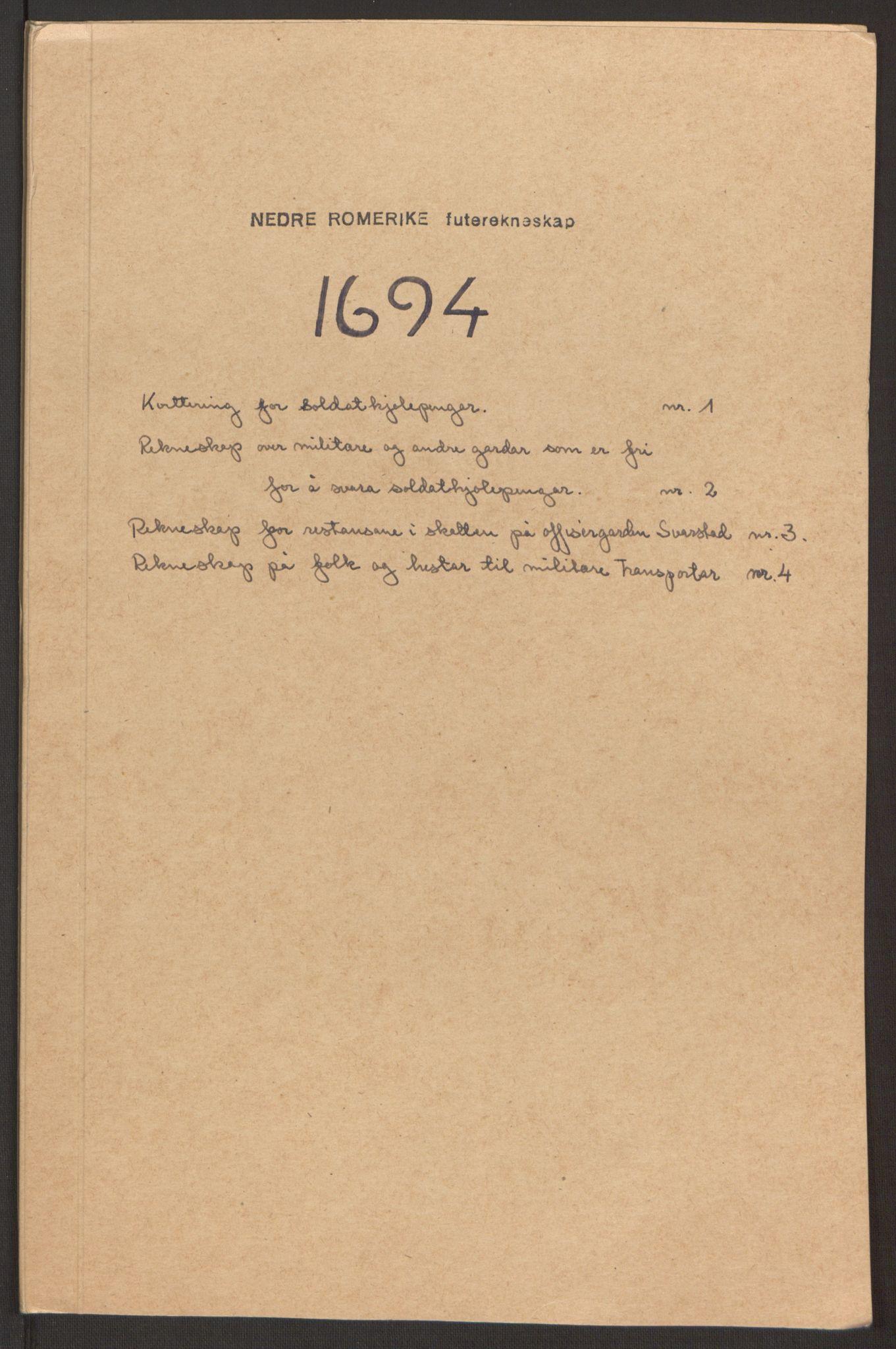 RA, Rentekammeret inntil 1814, Reviderte regnskaper, Fogderegnskap, R11/L0579: Fogderegnskap Nedre Romerike, 1694-1695, s. 209