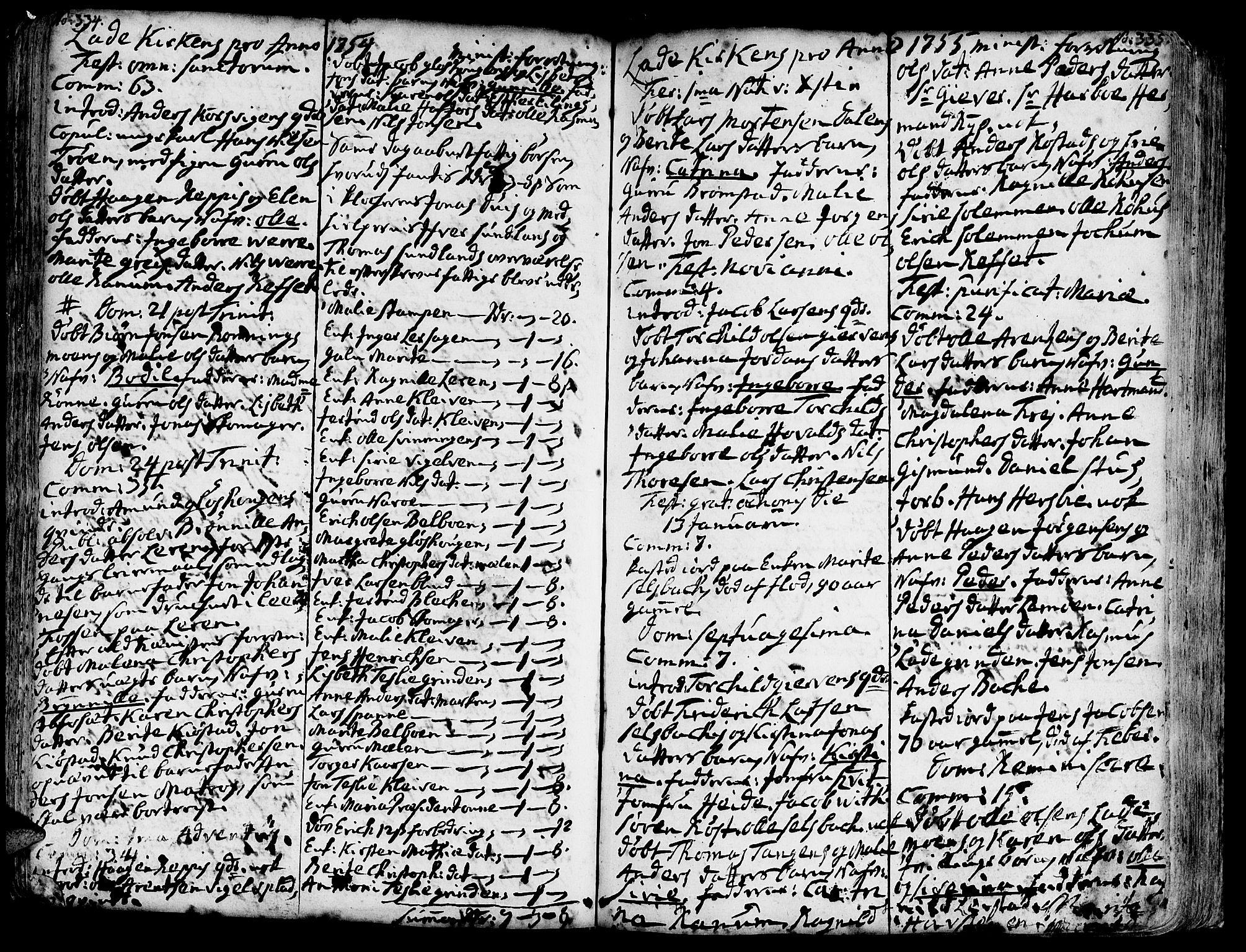 SAT, Ministerialprotokoller, klokkerbøker og fødselsregistre - Sør-Trøndelag, 606/L0275: Ministerialbok nr. 606A01 /1, 1727-1780, s. 334-335