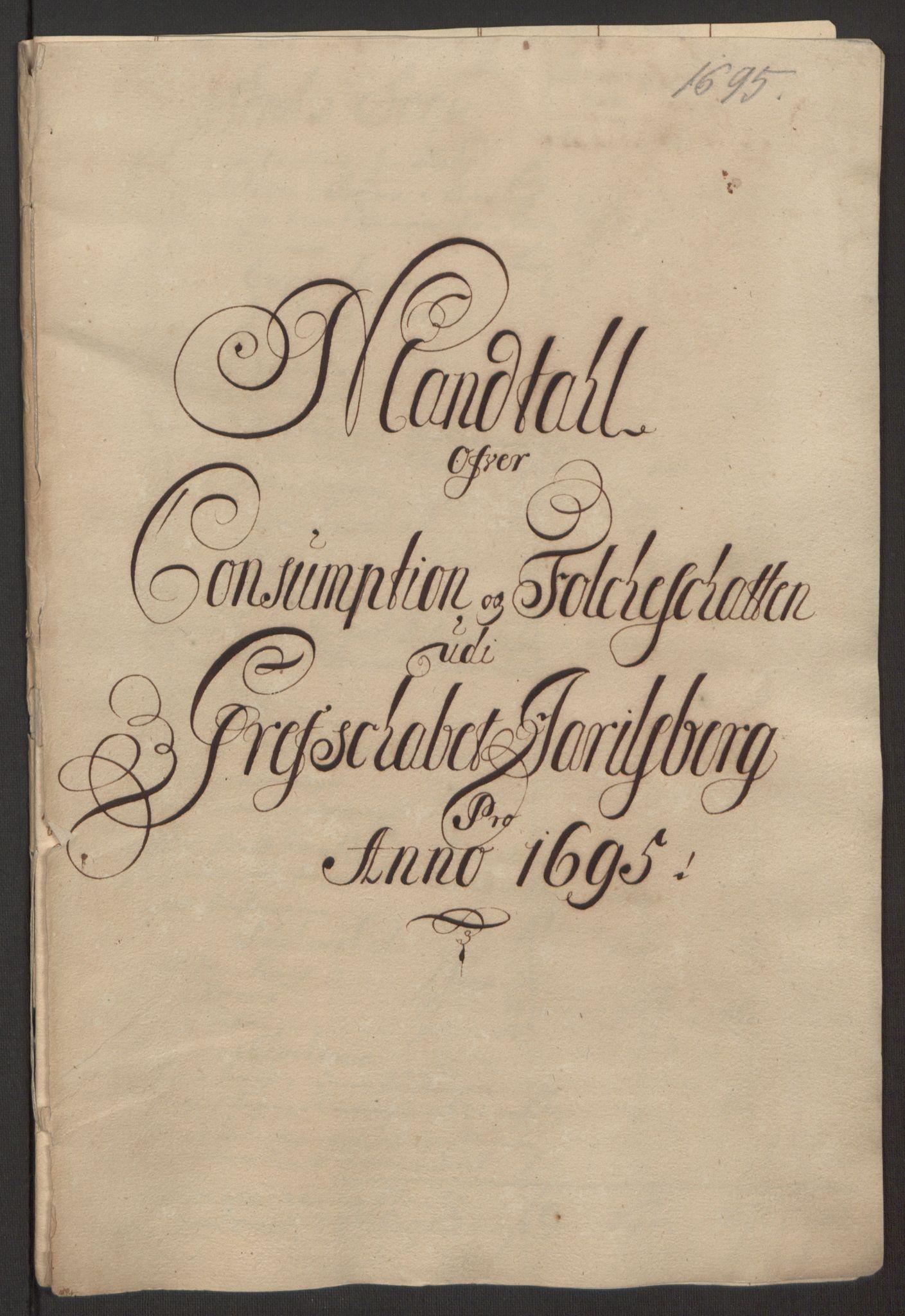 RA, Rentekammeret inntil 1814, Reviderte regnskaper, Fogderegnskap, R32/L1867: Fogderegnskap Jarlsberg grevskap, 1694-1696, s. 144