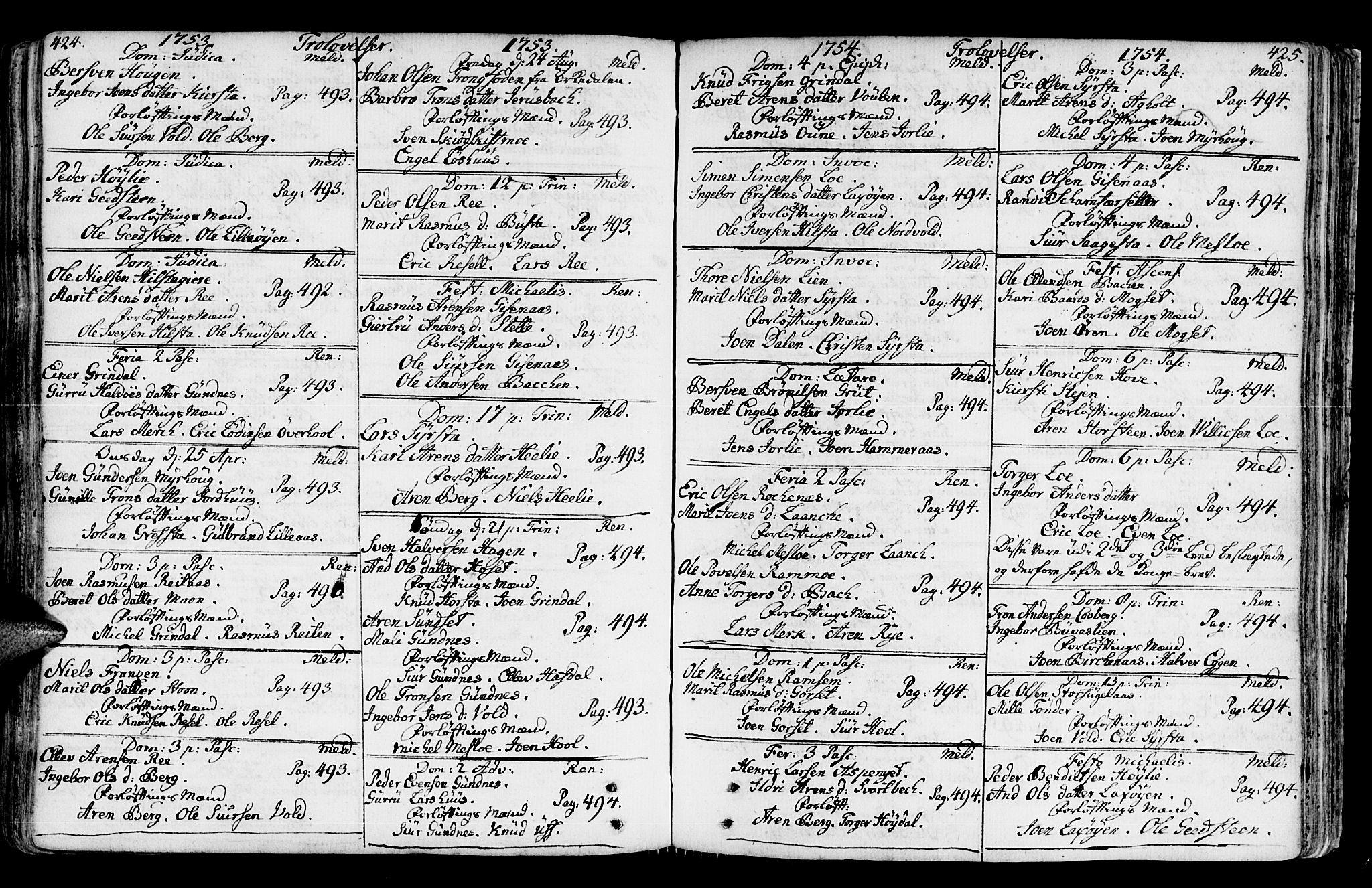 SAT, Ministerialprotokoller, klokkerbøker og fødselsregistre - Sør-Trøndelag, 672/L0851: Ministerialbok nr. 672A04, 1751-1775, s. 424-425
