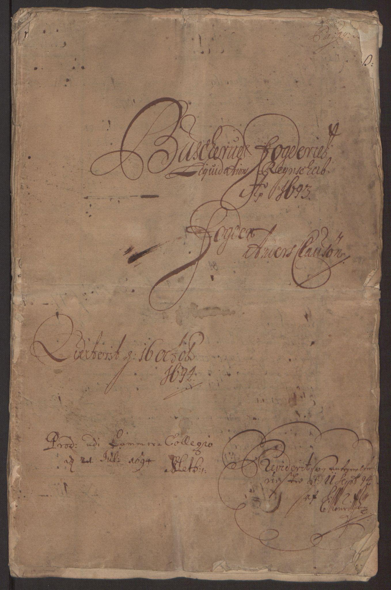 RA, Rentekammeret inntil 1814, Reviderte regnskaper, Fogderegnskap, R25/L1682: Fogderegnskap Buskerud, 1693, s. 3