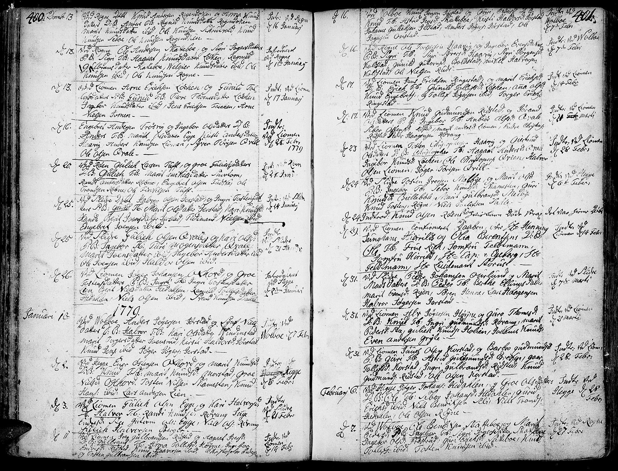SAH, Slidre prestekontor, Ministerialbok nr. 1, 1724-1814, s. 400-401