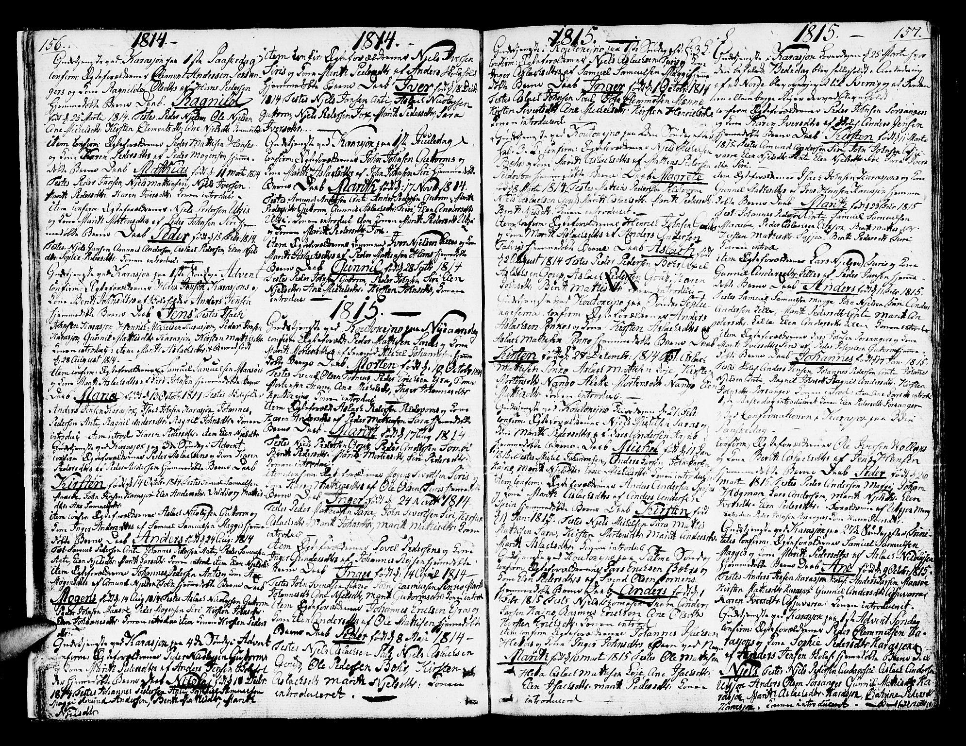 SATØ, Kistrand/Porsanger sokneprestembete, Ministerialbok nr. 9, 1805-1821, s. 156-157