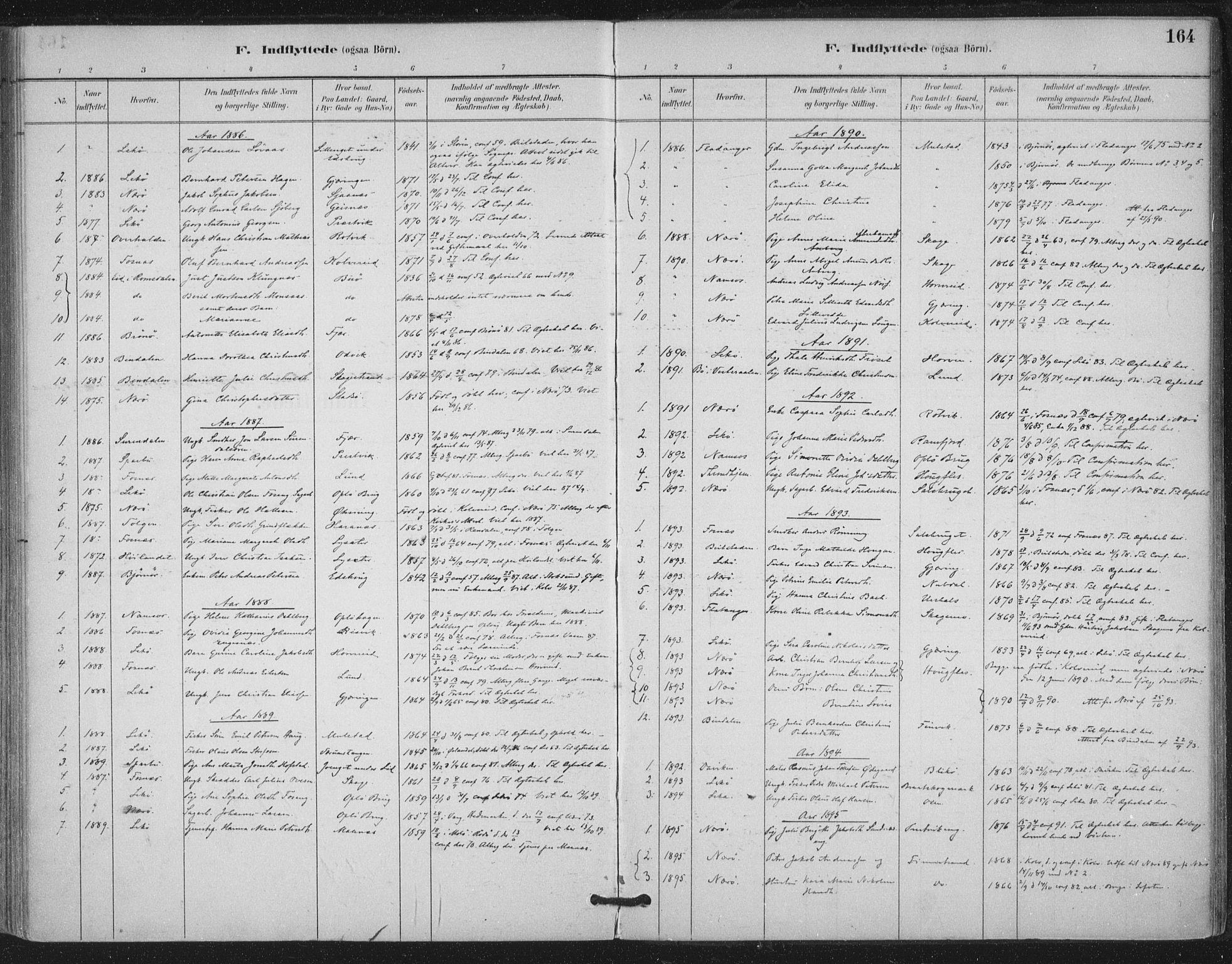 SAT, Ministerialprotokoller, klokkerbøker og fødselsregistre - Nord-Trøndelag, 780/L0644: Ministerialbok nr. 780A08, 1886-1903, s. 164