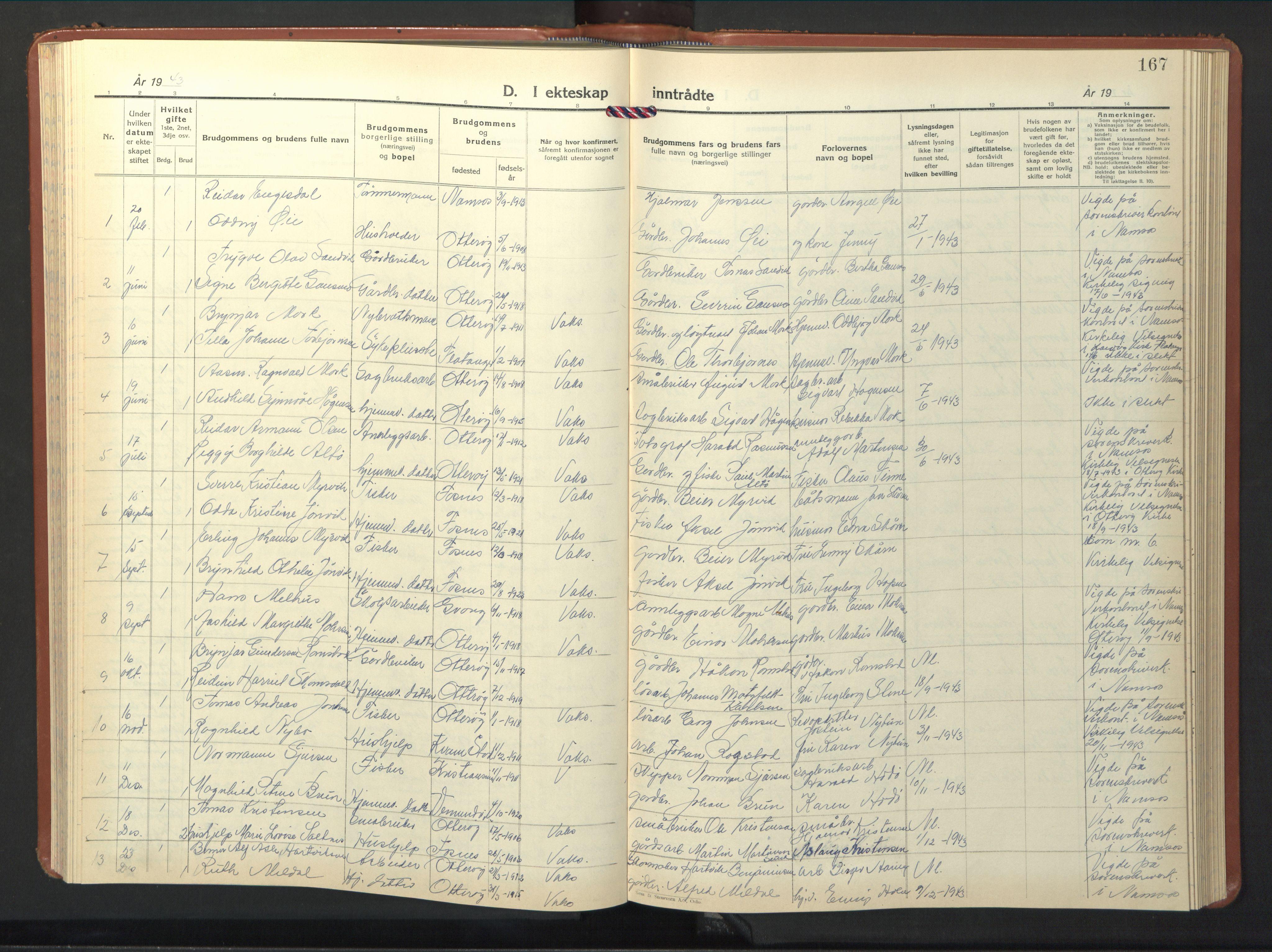 SAT, Ministerialprotokoller, klokkerbøker og fødselsregistre - Nord-Trøndelag, 774/L0631: Klokkerbok nr. 774C02, 1934-1950, s. 167