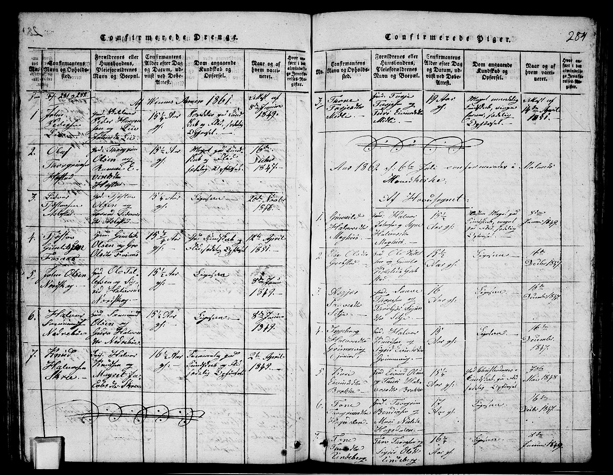 SAKO, Fyresdal kirkebøker, G/Ga/L0003: Klokkerbok nr. I 3, 1815-1863, s. 284