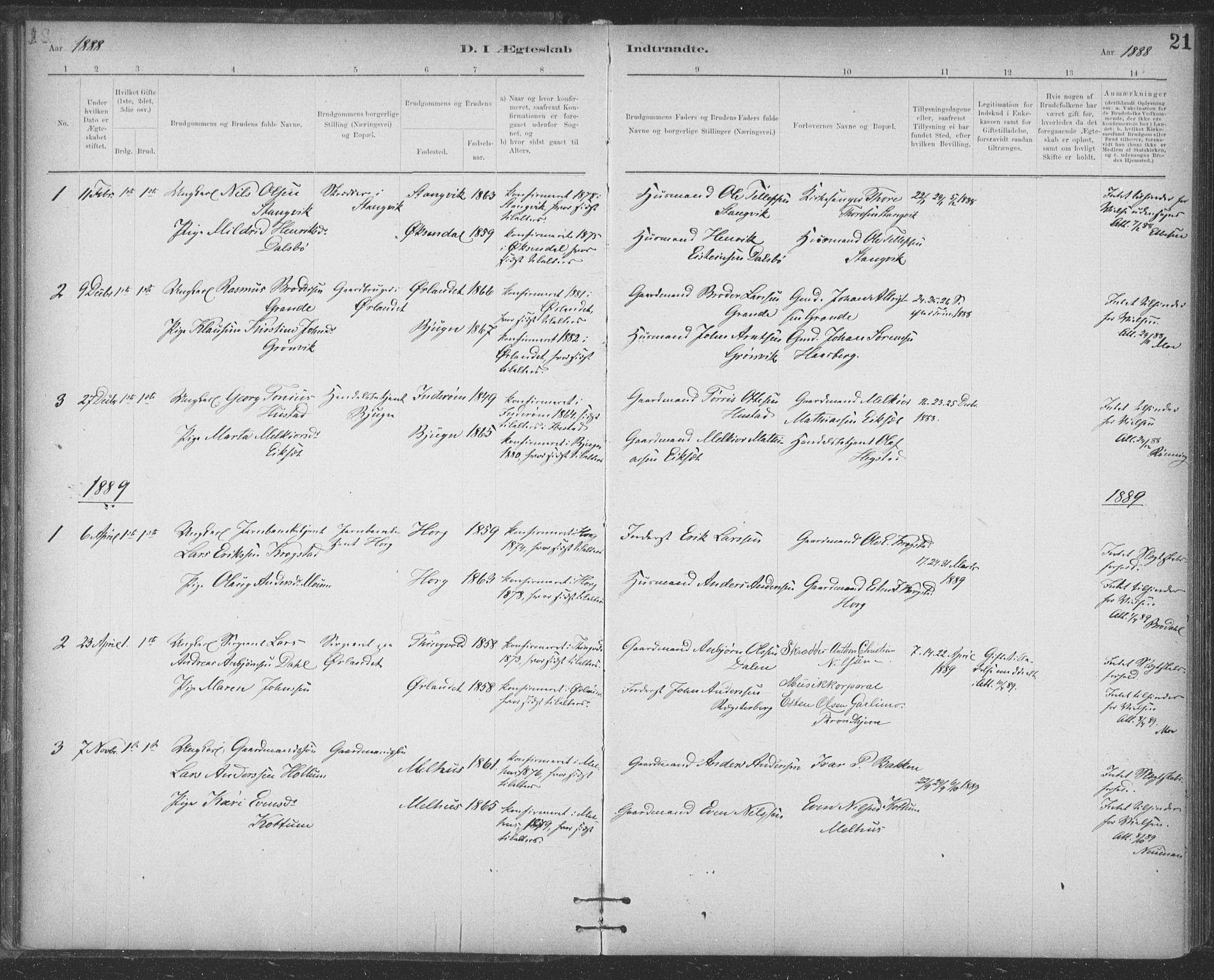 SAT, Ministerialprotokoller, klokkerbøker og fødselsregistre - Sør-Trøndelag, 623/L0470: Ministerialbok nr. 623A04, 1884-1938, s. 21