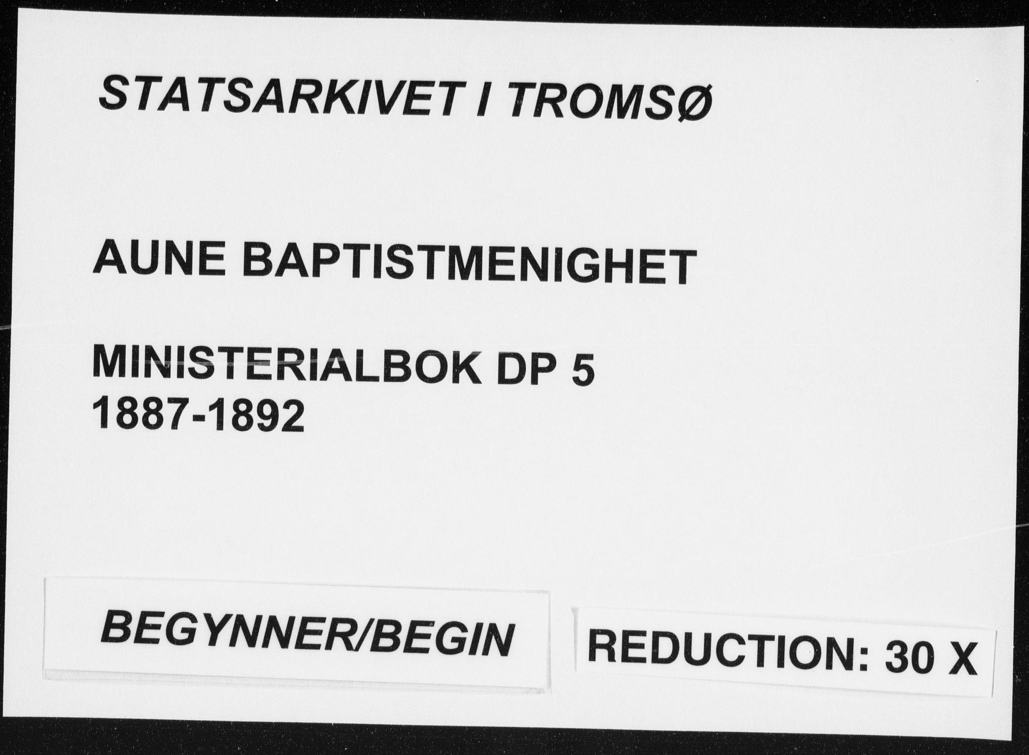 SATØ, Aune baptistmenighet, F/L0005DP: Dissenterprotokoll nr. 5, 1887-1892