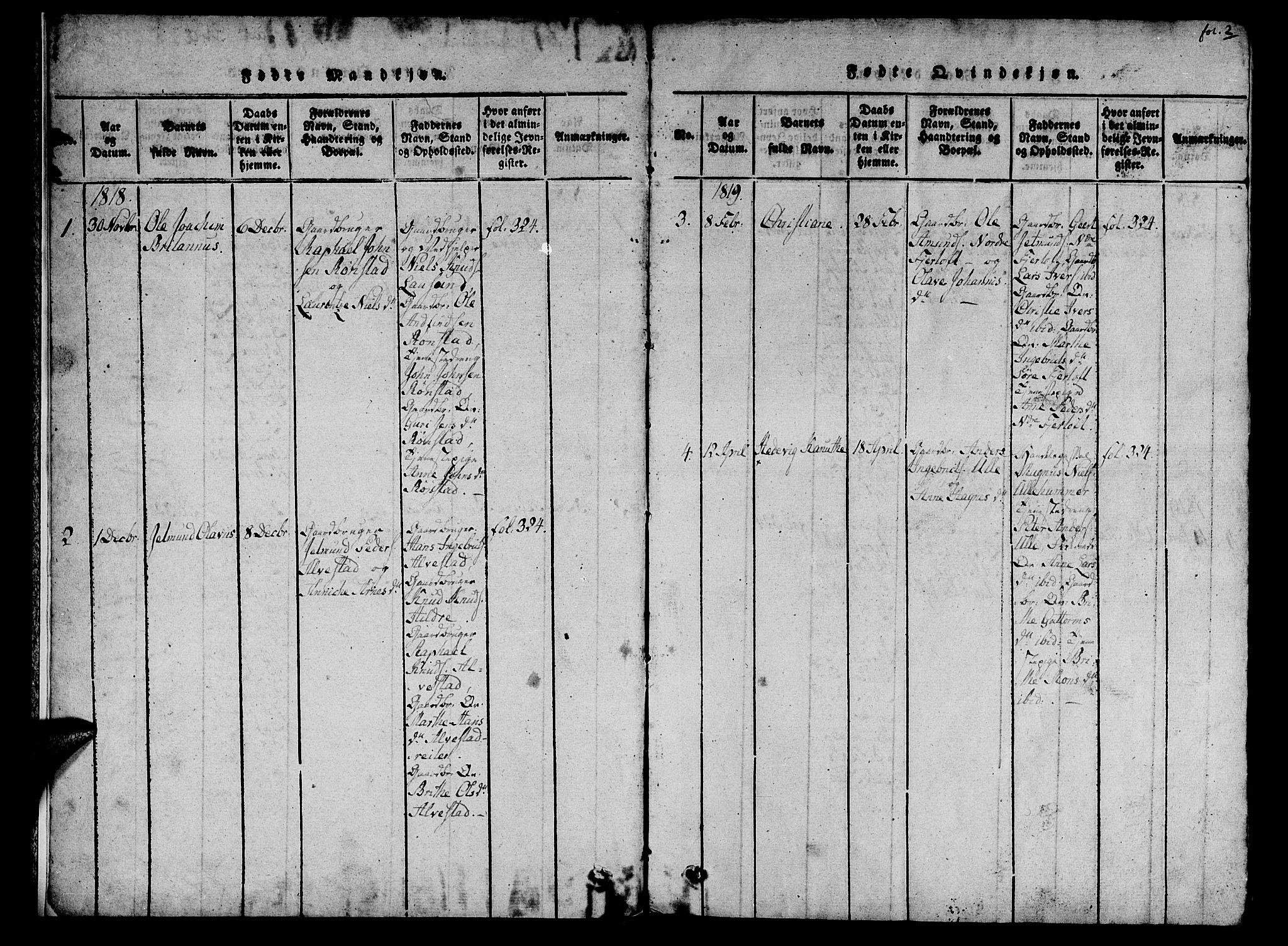 SAT, Ministerialprotokoller, klokkerbøker og fødselsregistre - Møre og Romsdal, 536/L0495: Ministerialbok nr. 536A04, 1818-1847, s. 2