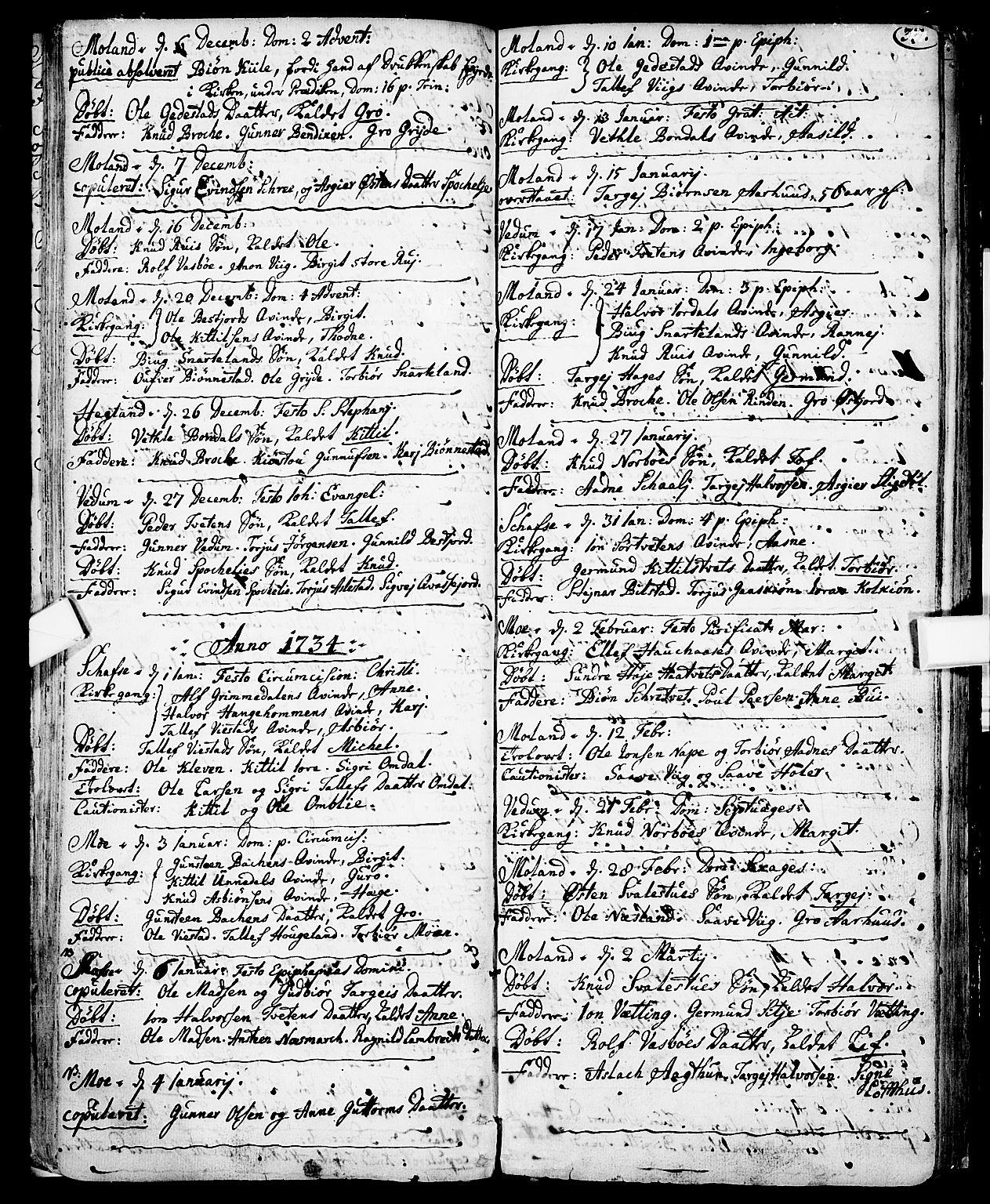 SAKO, Fyresdal kirkebøker, F/Fa/L0001: Ministerialbok nr. I 1, 1724-1748, s. 33