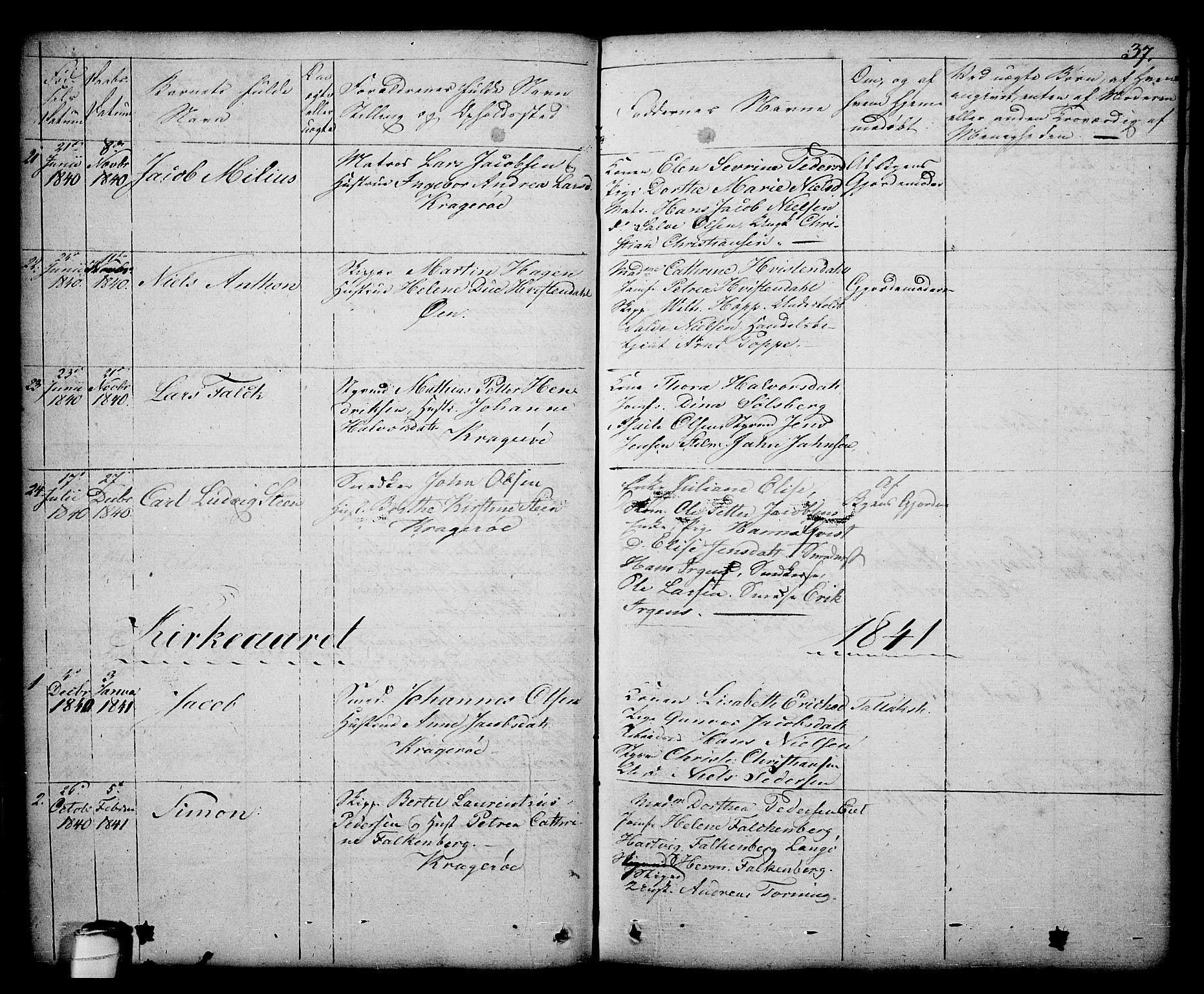 SAKO, Kragerø kirkebøker, G/Ga/L0003: Klokkerbok nr. 3, 1832-1852, s. 37