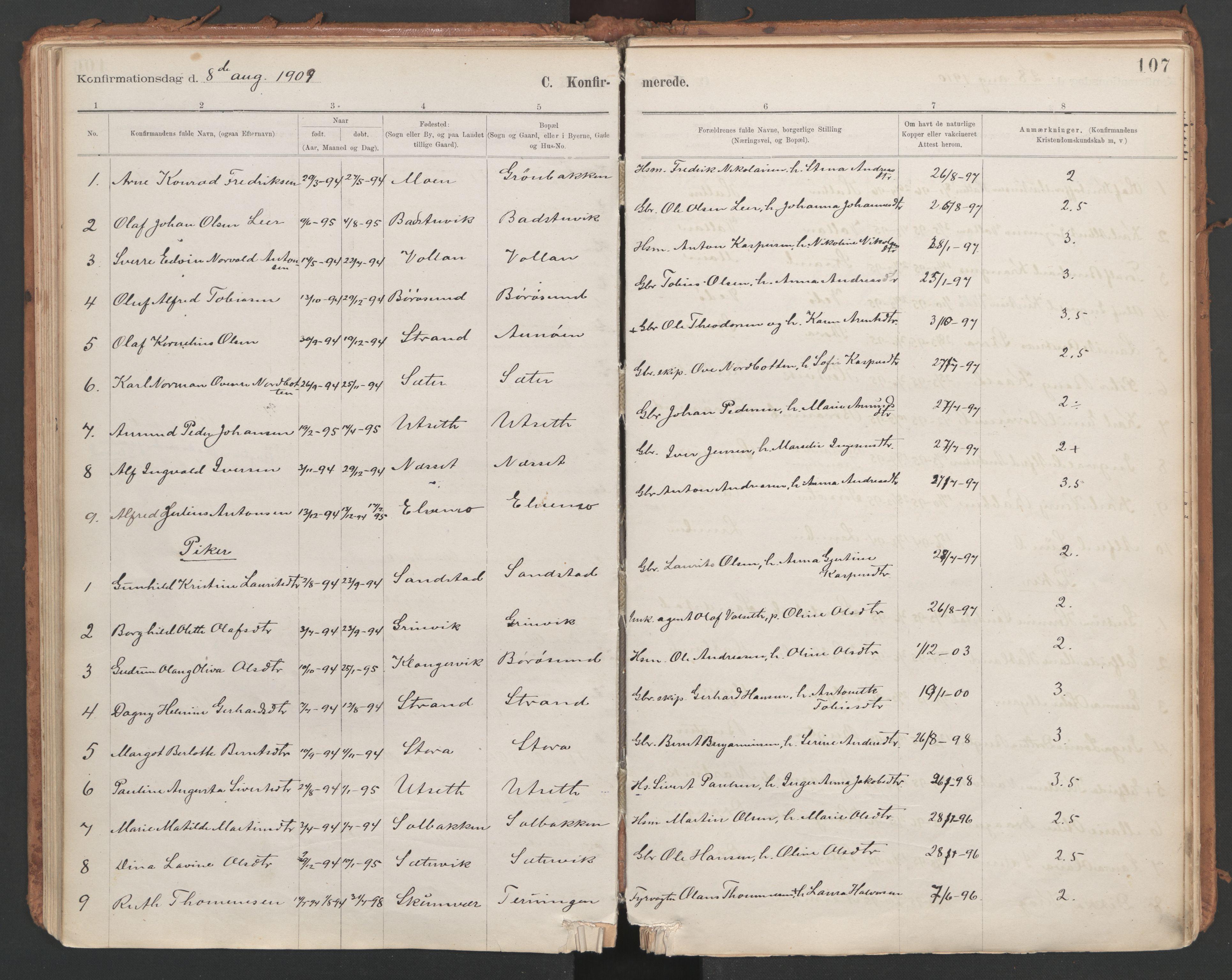 SAT, Ministerialprotokoller, klokkerbøker og fødselsregistre - Sør-Trøndelag, 639/L0572: Ministerialbok nr. 639A01, 1890-1920, s. 107