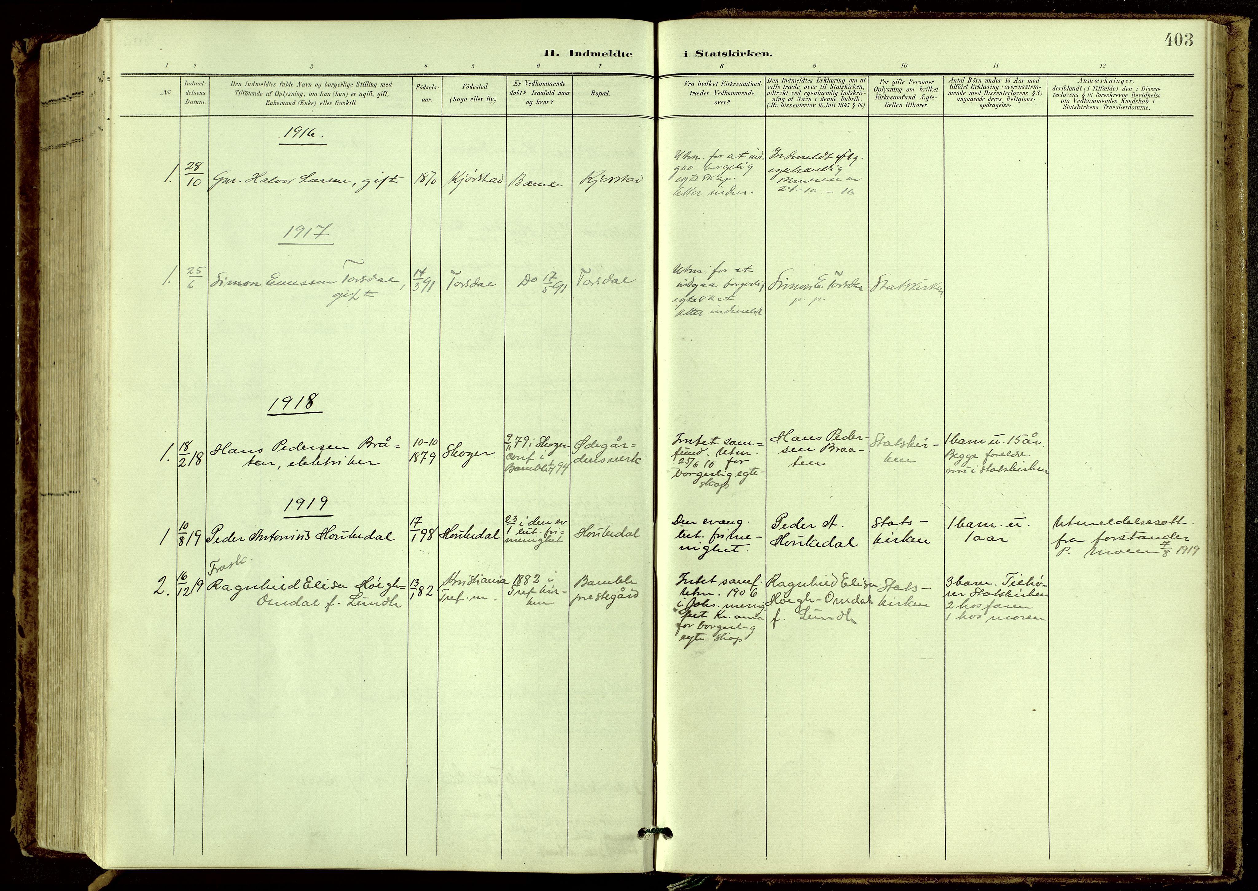SAKO, Bamble kirkebøker, G/Ga/L0010: Klokkerbok nr. I 10, 1901-1919, s. 403