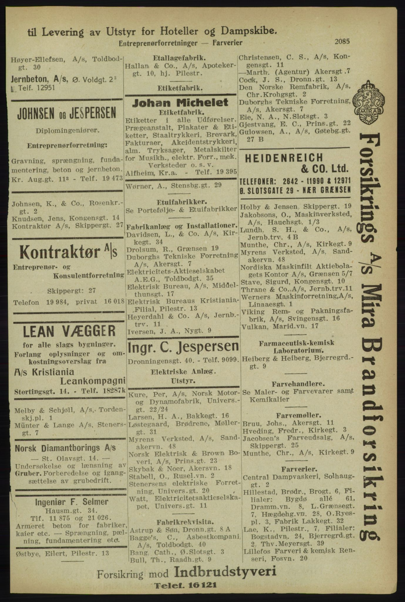 RA, Kristiania adressebok (publikasjon)*, 1918, s. 2085