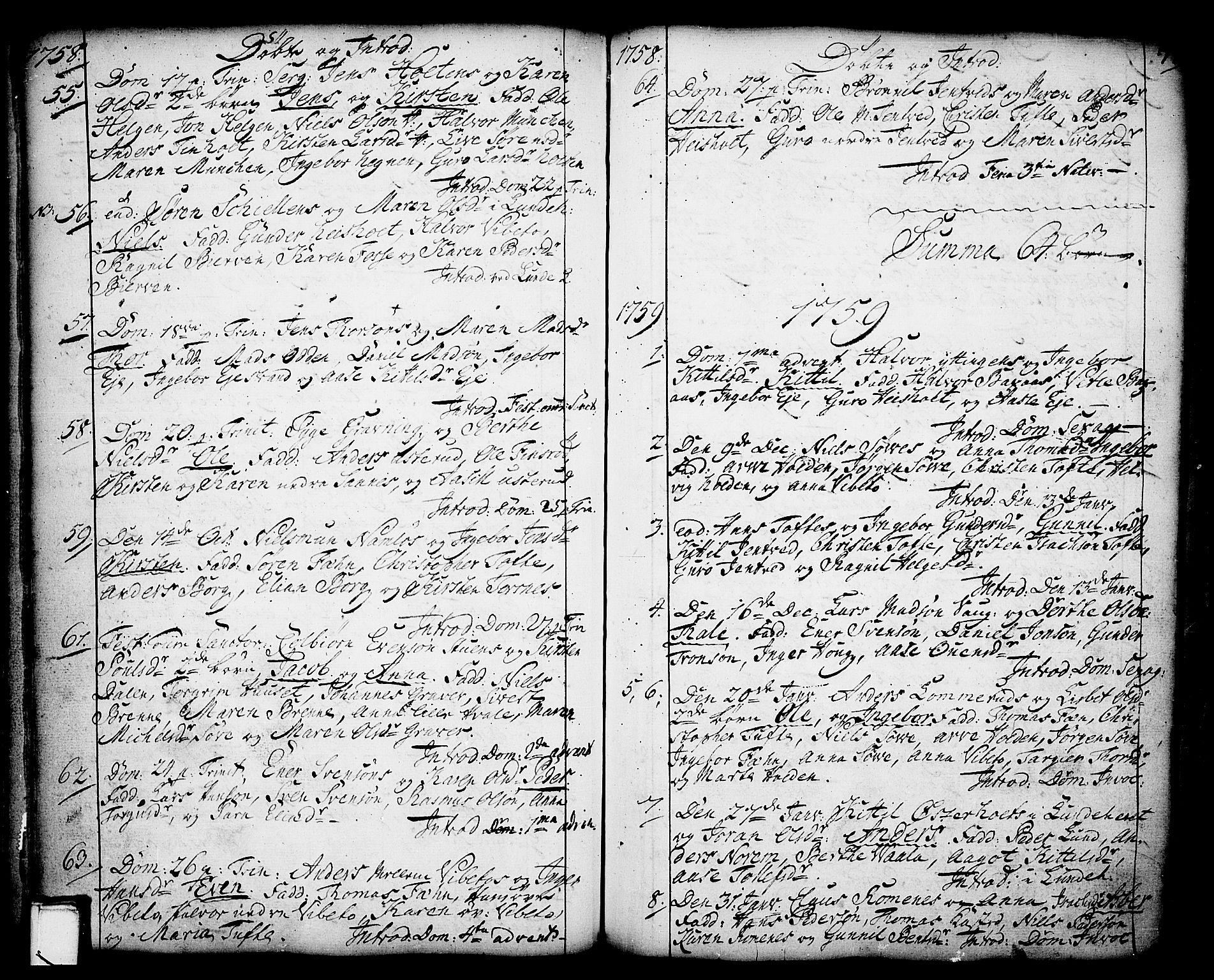 SAKO, Holla kirkebøker, F/Fa/L0001: Ministerialbok nr. 1, 1717-1779, s. 77