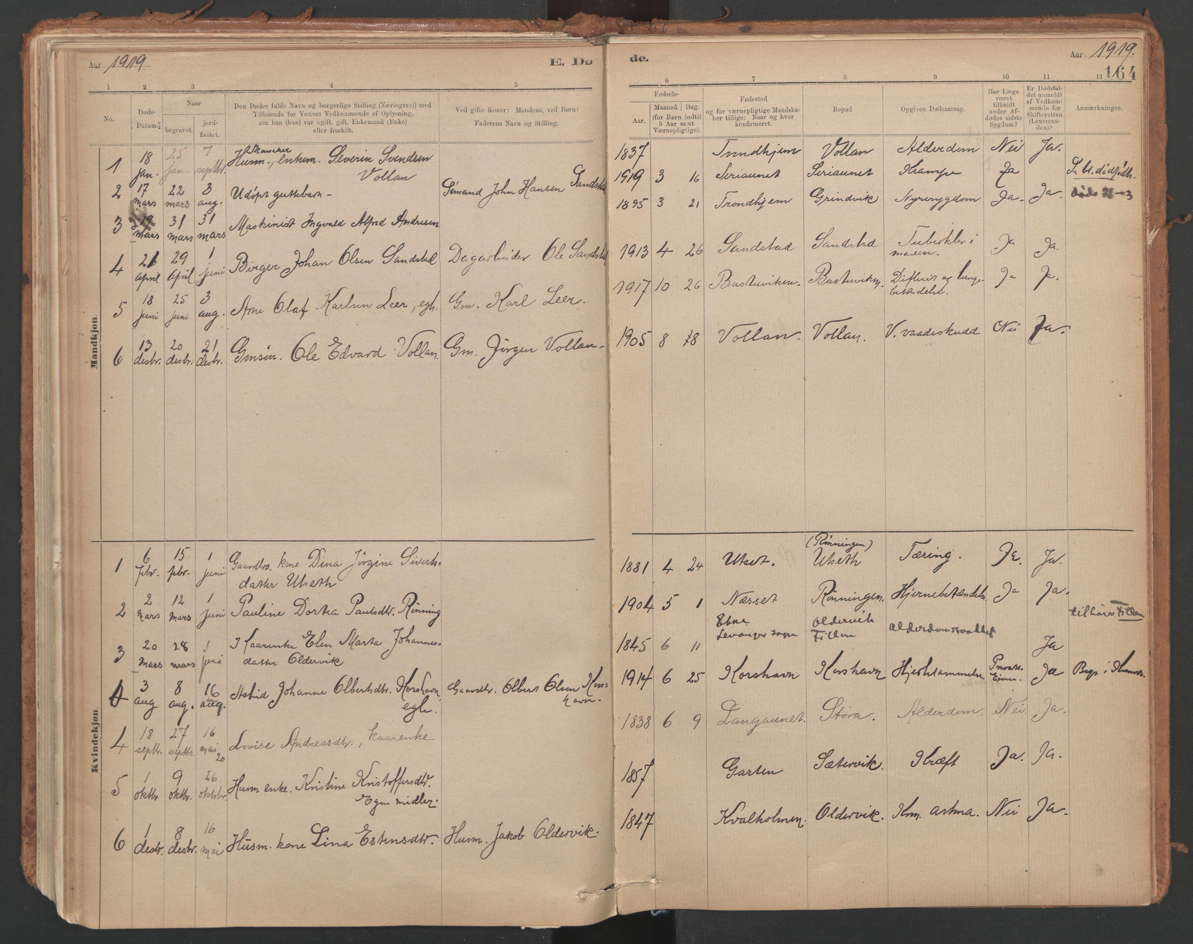 SAT, Ministerialprotokoller, klokkerbøker og fødselsregistre - Sør-Trøndelag, 639/L0572: Ministerialbok nr. 639A01, 1890-1920, s. 164