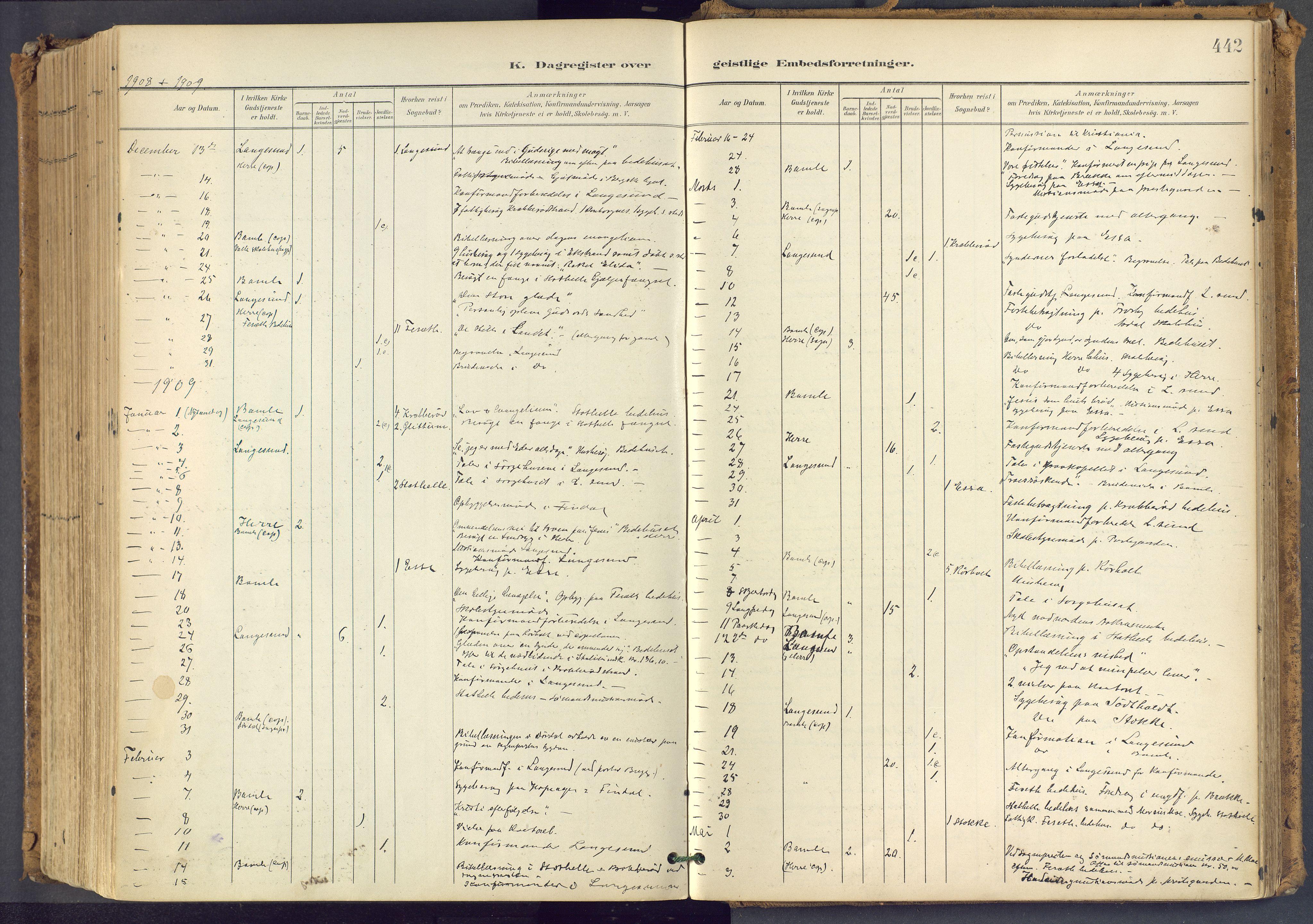 SAKO, Bamble kirkebøker, F/Fa/L0009: Ministerialbok nr. I 9, 1901-1917, s. 442