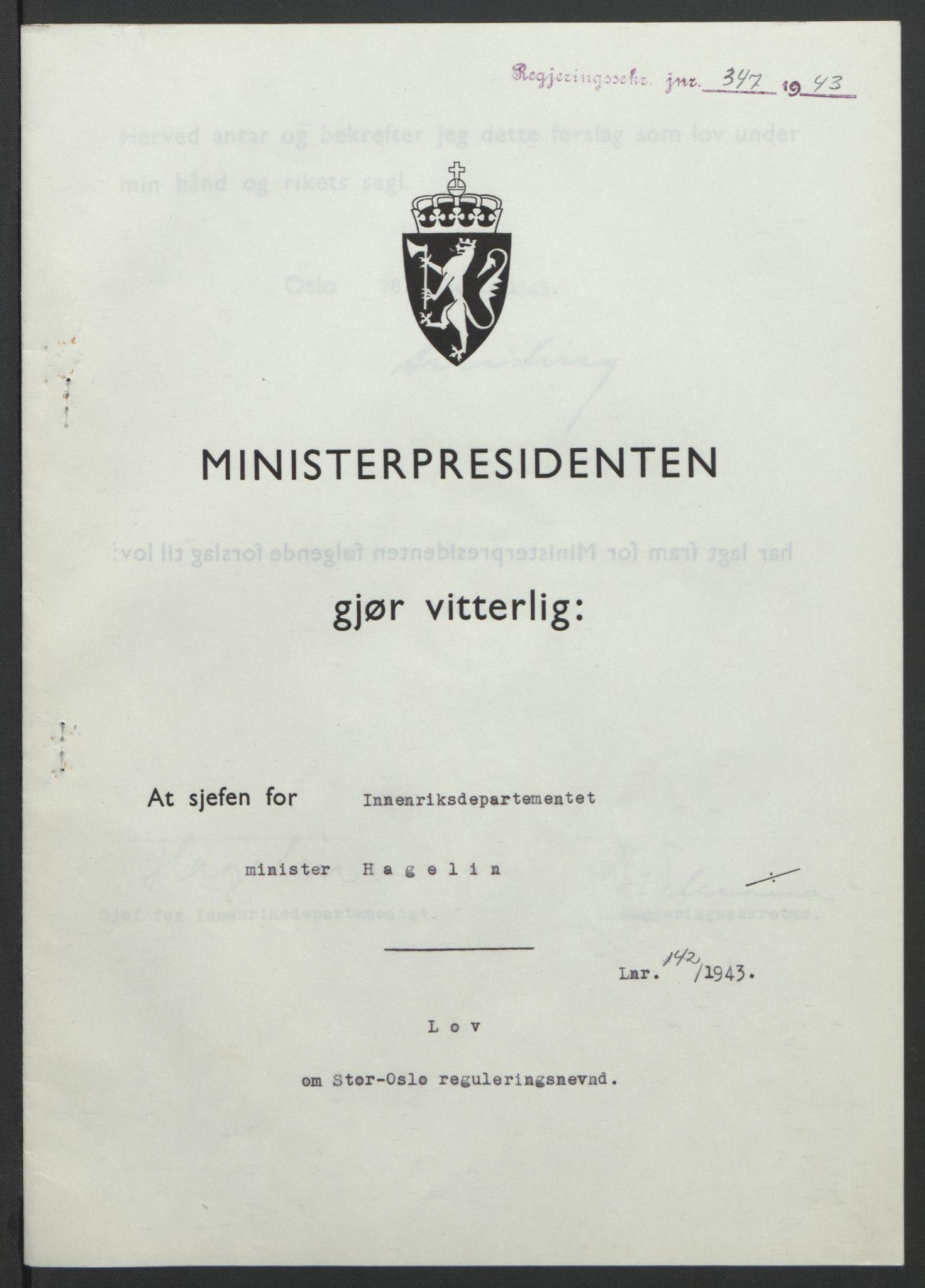 RA, NS-administrasjonen 1940-1945 (Statsrådsekretariatet, de kommisariske statsråder mm), D/Db/L0099: Lover, 1943, s. 661