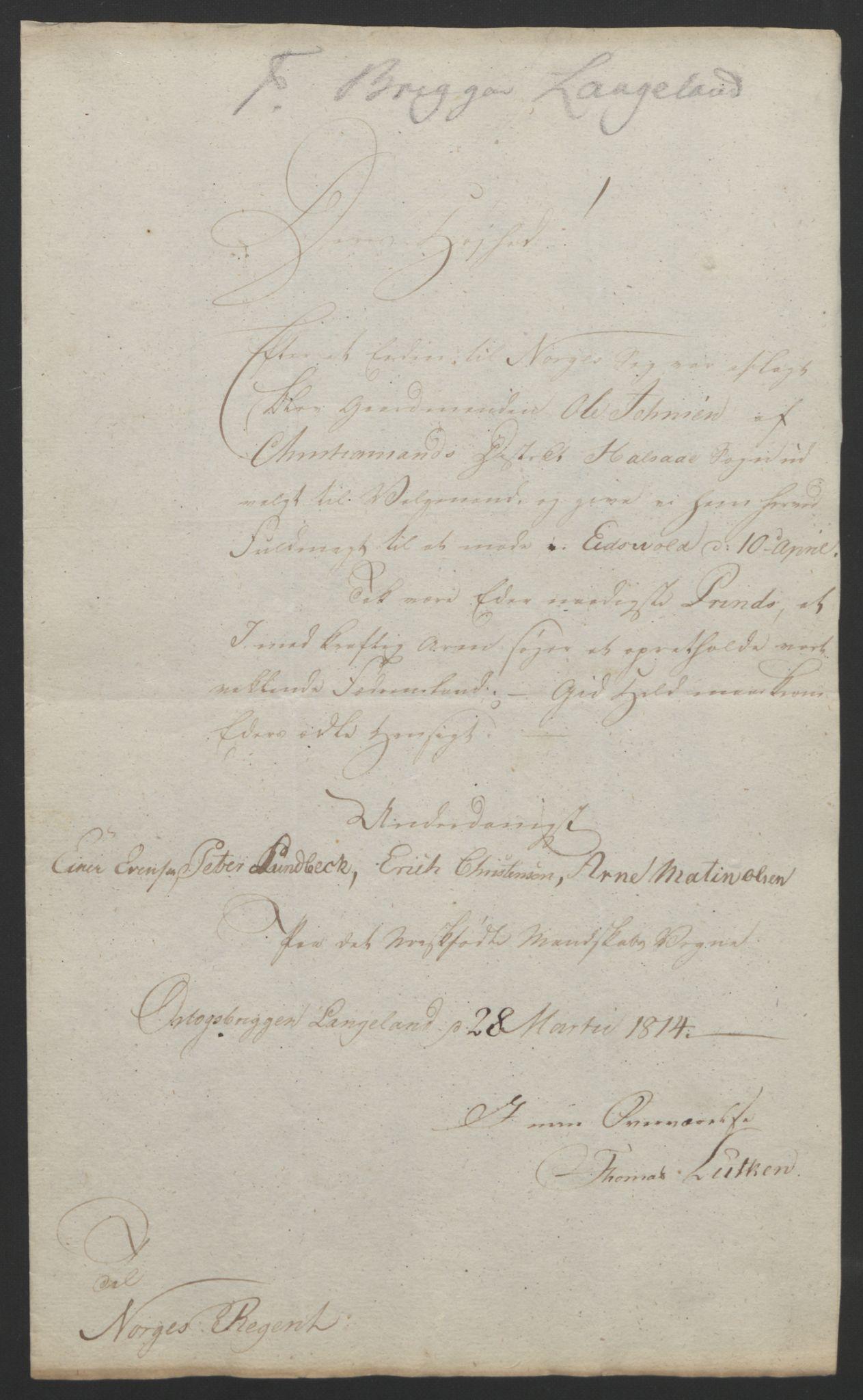 RA, Statsrådssekretariatet, D/Db/L0007: Fullmakter for Eidsvollsrepresentantene i 1814. , 1814, s. 134