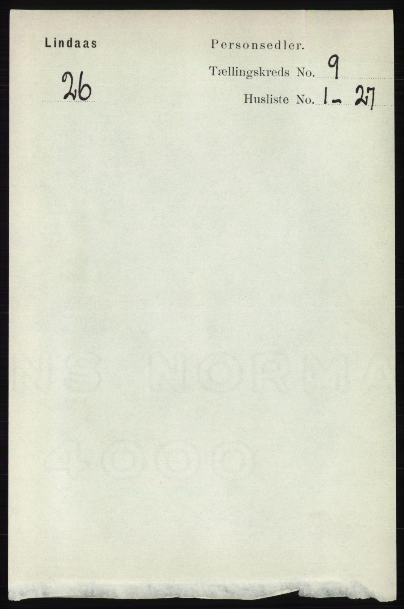 RA, Folketelling 1891 for 1263 Lindås herred, 1891, s. 2958