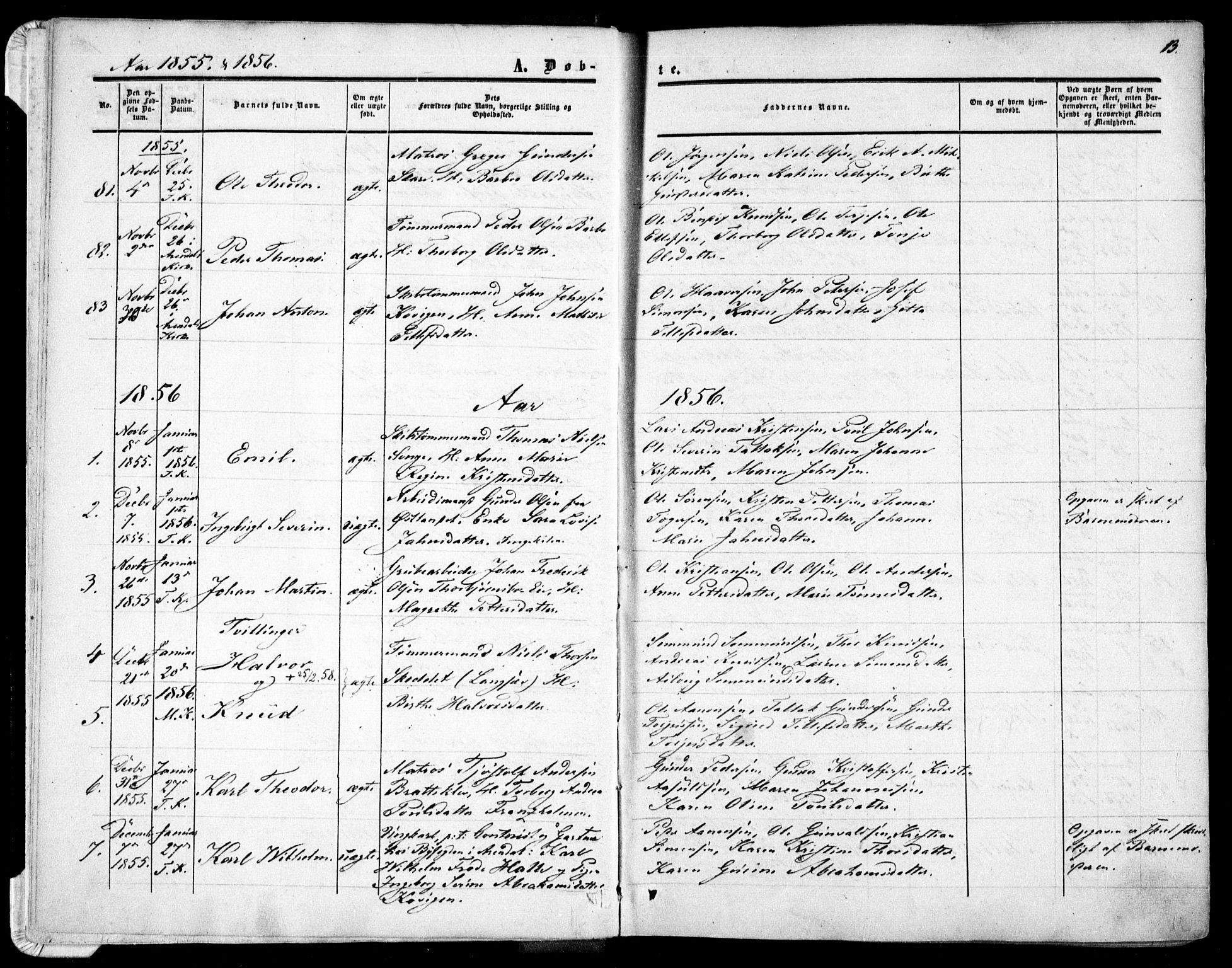 SAK, Tromøy sokneprestkontor, F/Fa/L0006: Ministerialbok nr. A 6, 1855-1863, s. 13