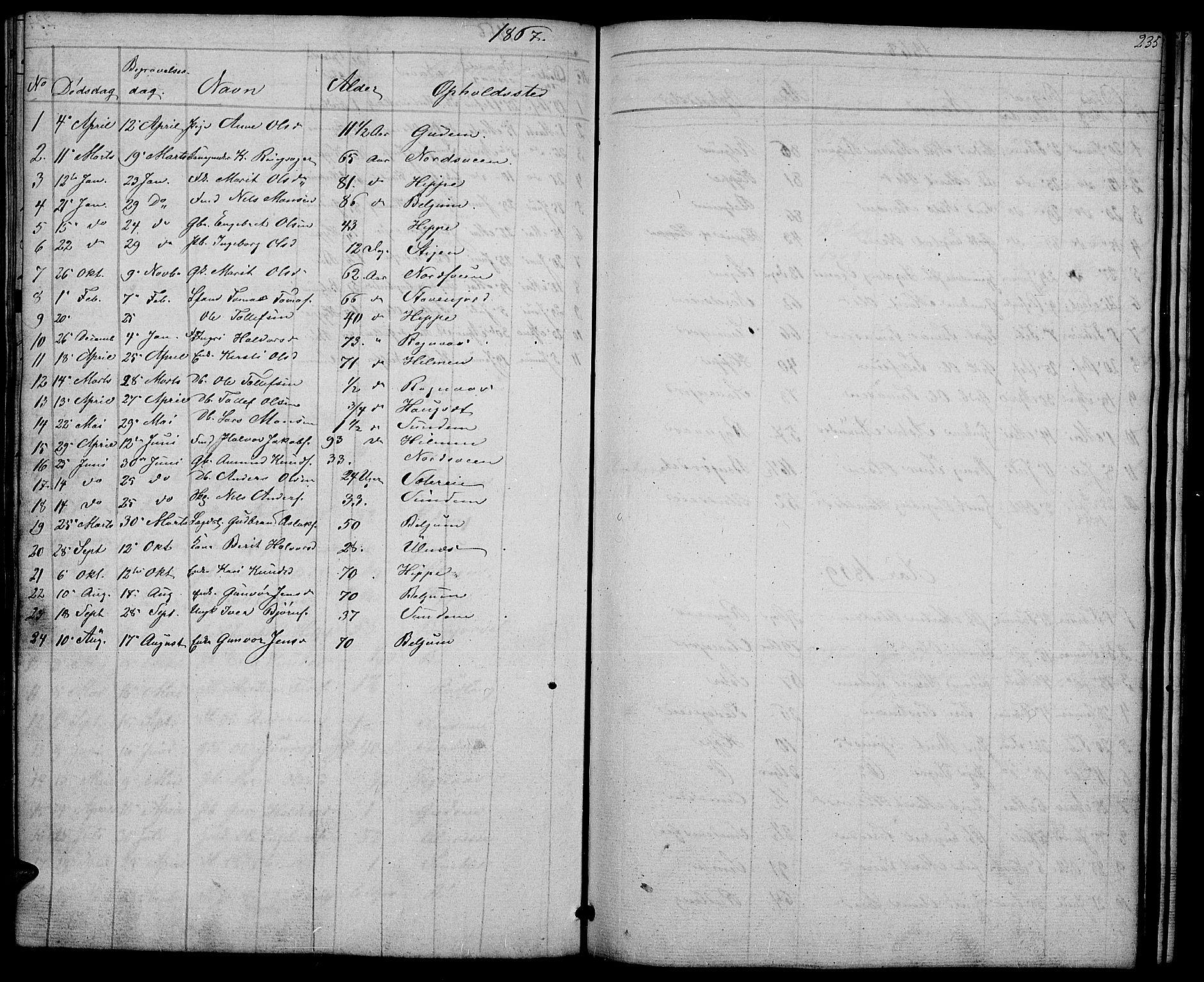 SAH, Nord-Aurdal prestekontor, Klokkerbok nr. 4, 1842-1882, s. 235