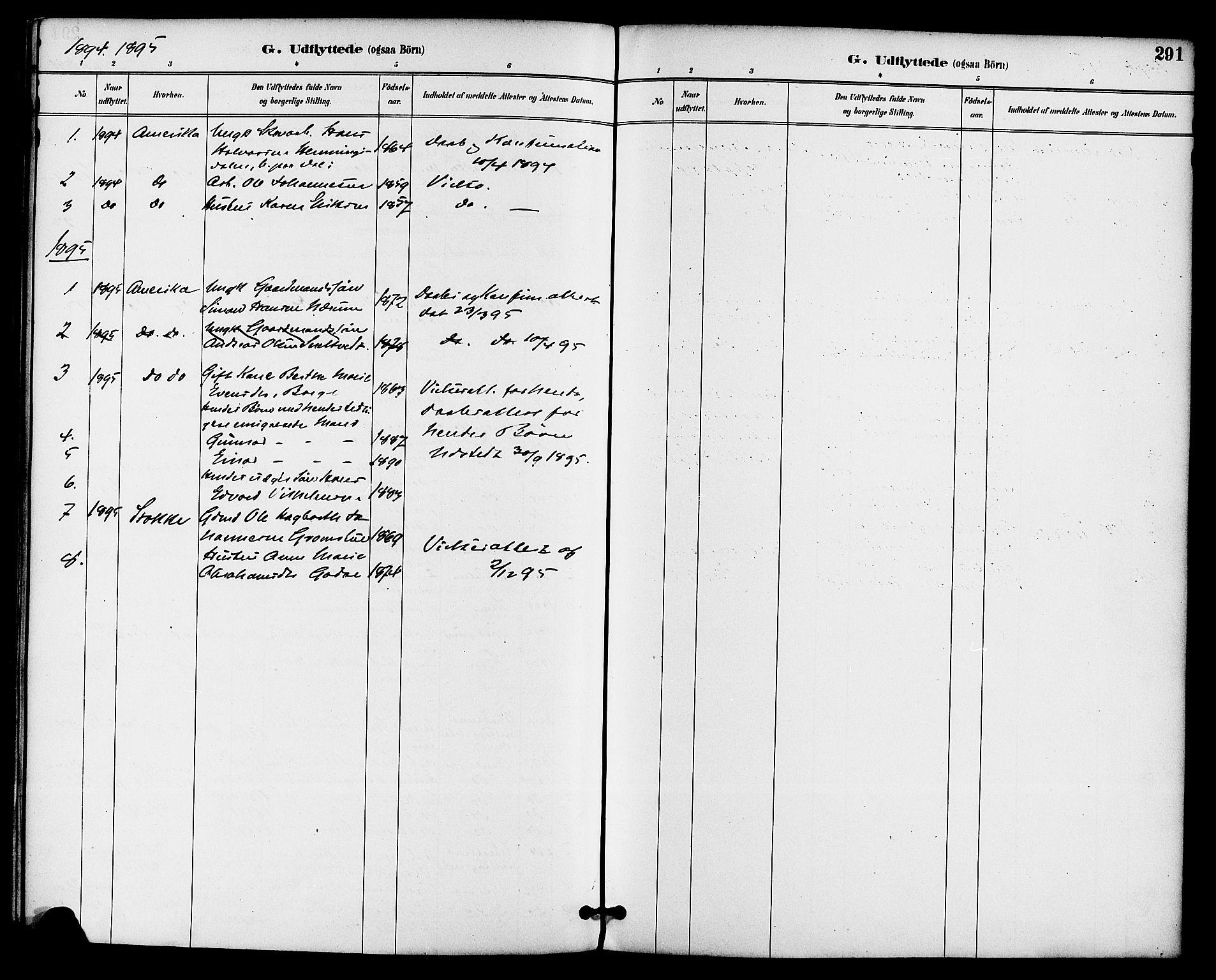 SAKO, Gjerpen kirkebøker, F/Fa/L0010: Ministerialbok nr. 10, 1886-1895, s. 291