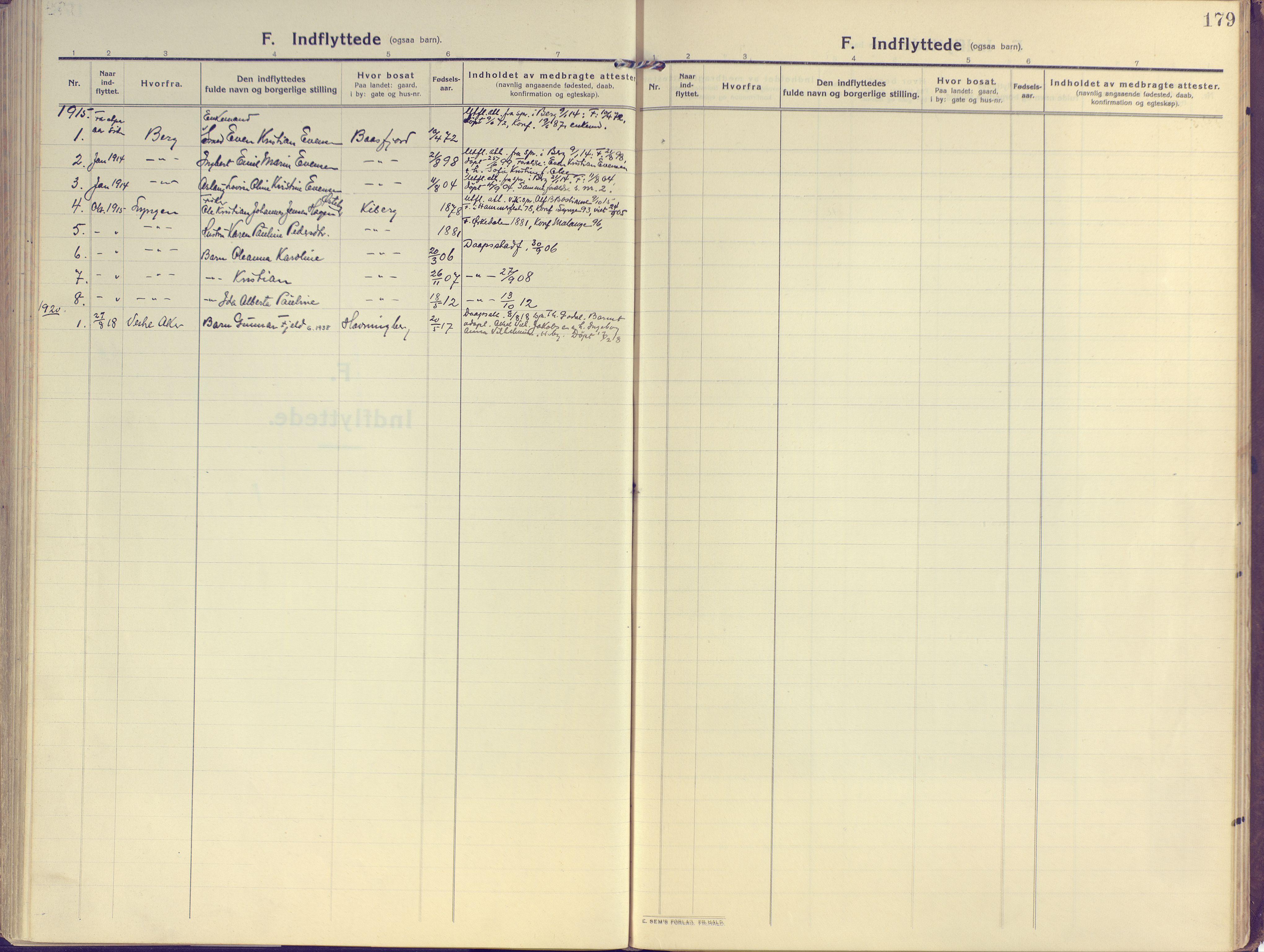 SATØ, Vardø sokneprestkontor, H/Ha/L0013kirke: Ministerialbok nr. 13, 1912-1928, s. 179