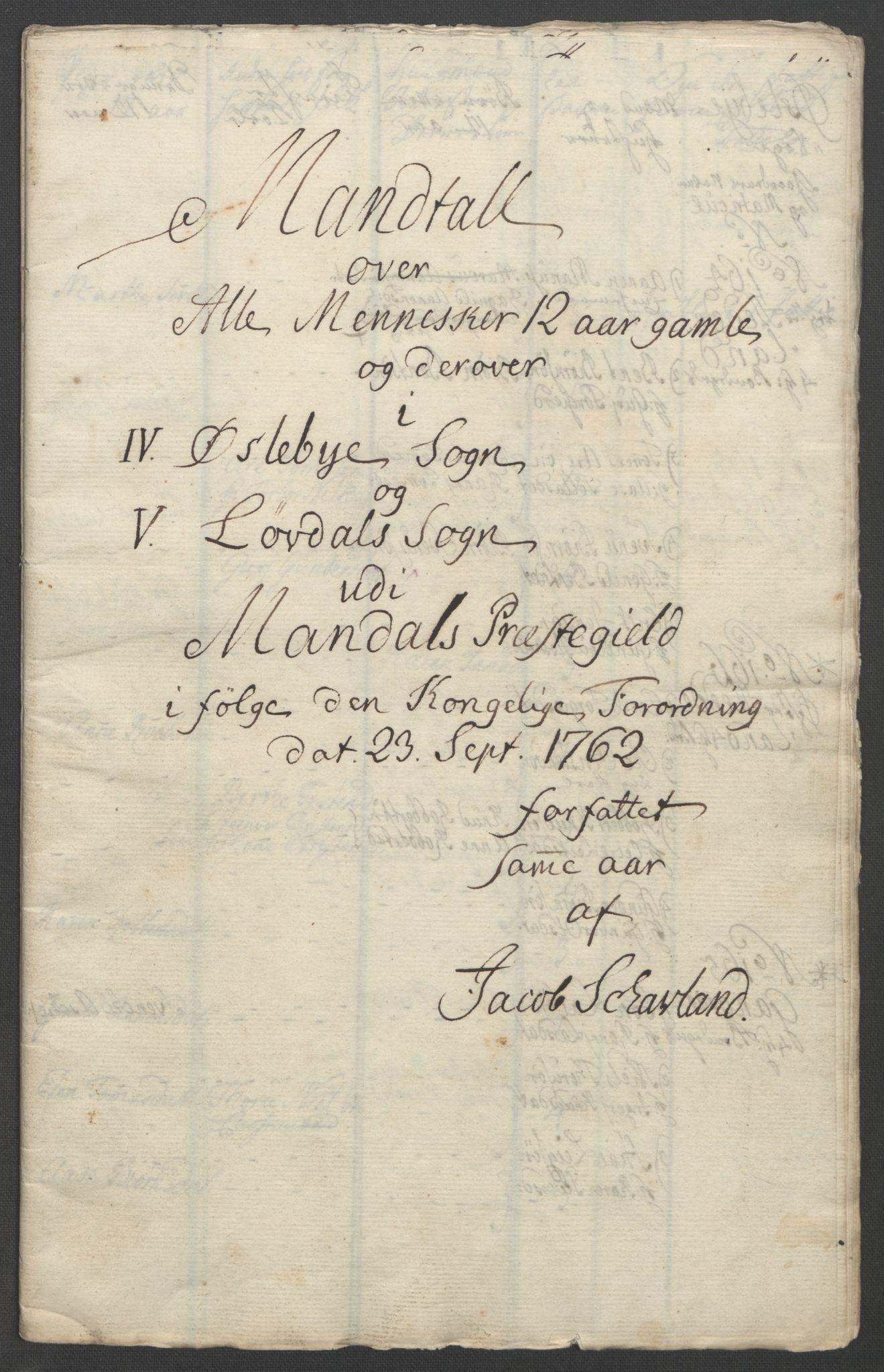 RA, Rentekammeret inntil 1814, Reviderte regnskaper, Fogderegnskap, R45/L2704: Ekstraskatten Lista og Mandal, 1762-1768, s. 77