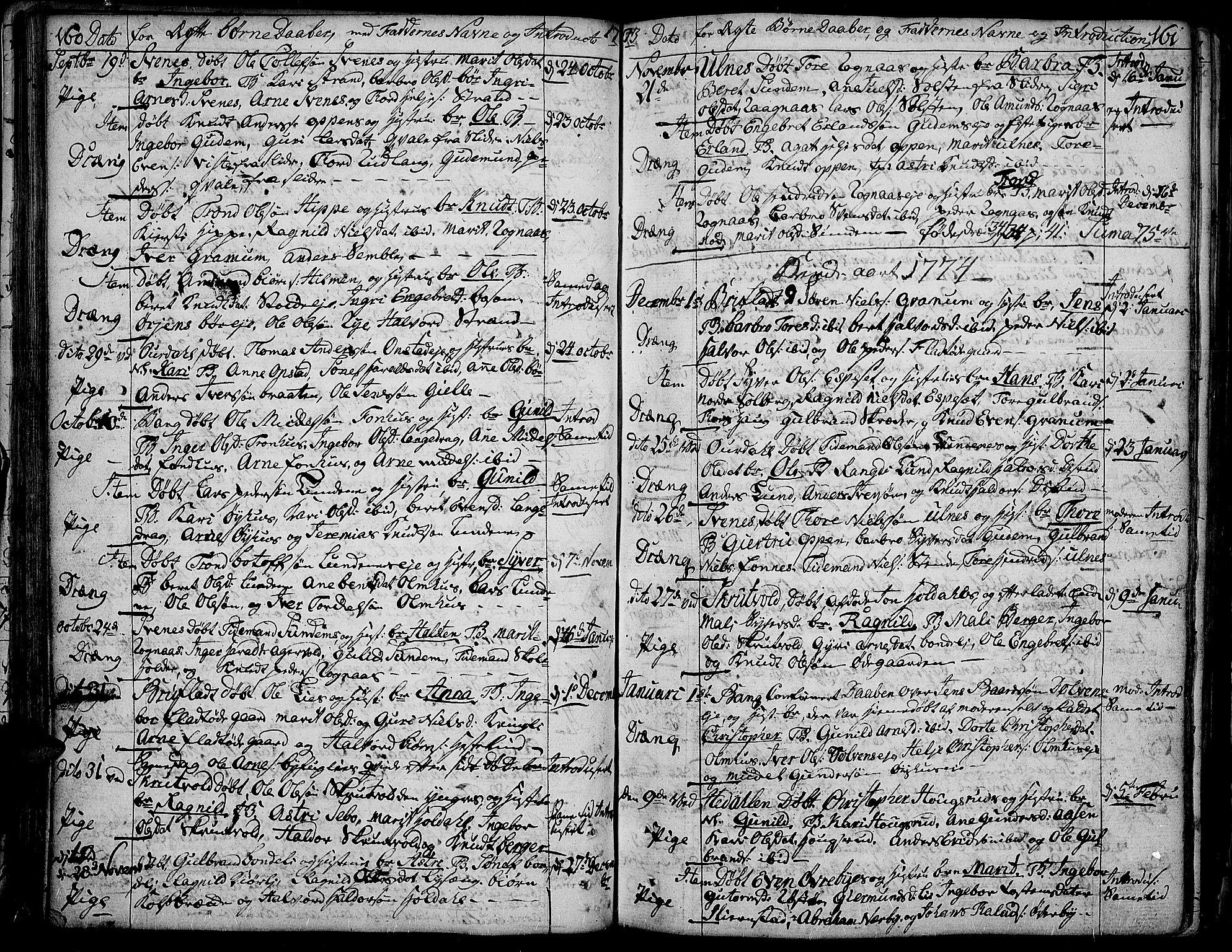 SAH, Aurdal prestekontor, Ministerialbok nr. 5, 1763-1781, s. 160-161