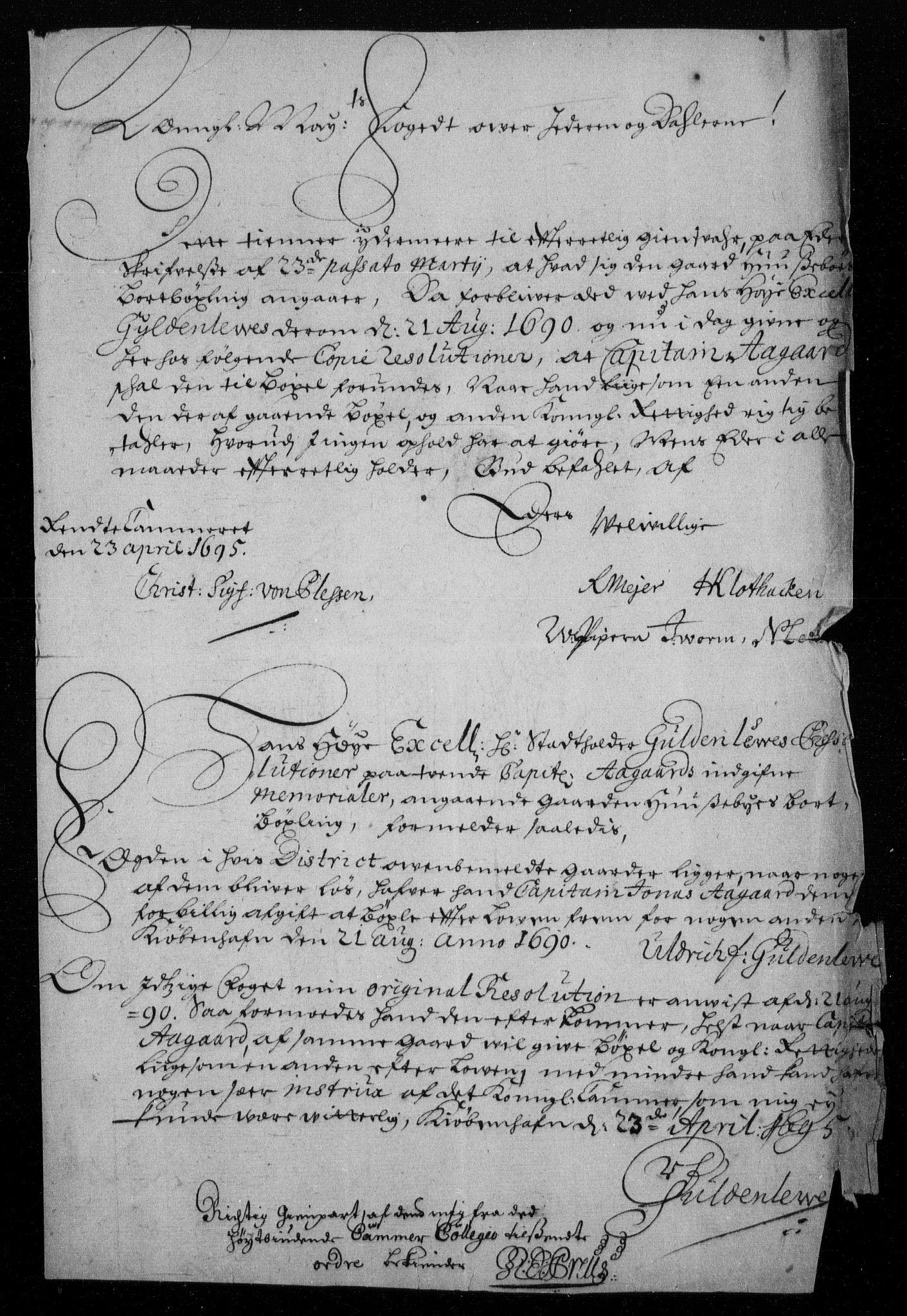 RA, Rentekammeret inntil 1814, Reviderte regnskaper, Fogderegnskap, R46/L2728: Fogderegnskap Jæren og Dalane, 1694-1696, s. 226