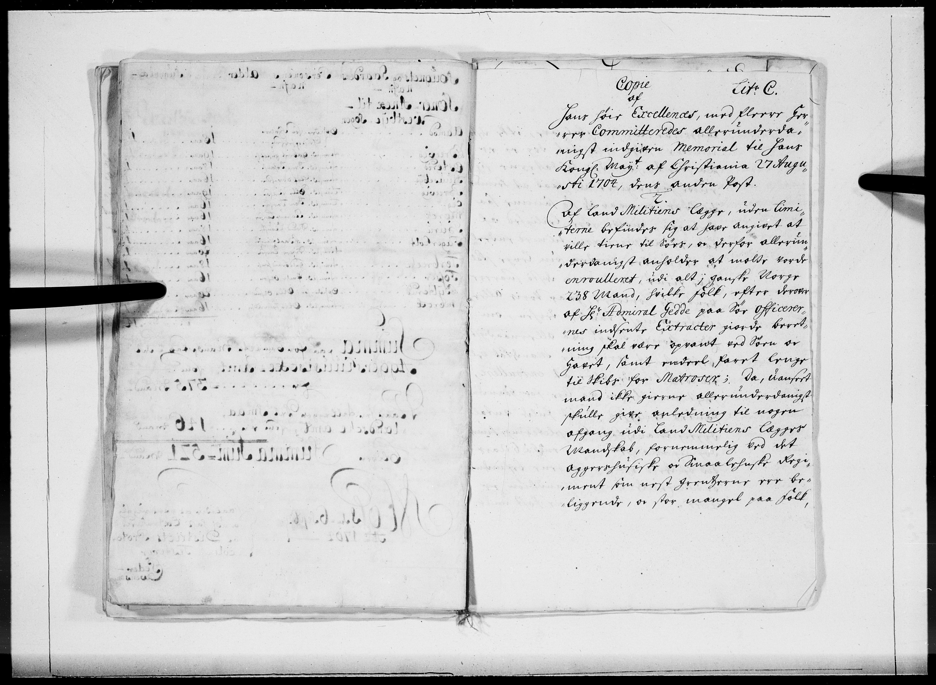 RA, Danske Kanselli 1572-1799, F/Fc/Fcc/Fcca/L0057: Norske innlegg 1572-1799, 1704, s. 422